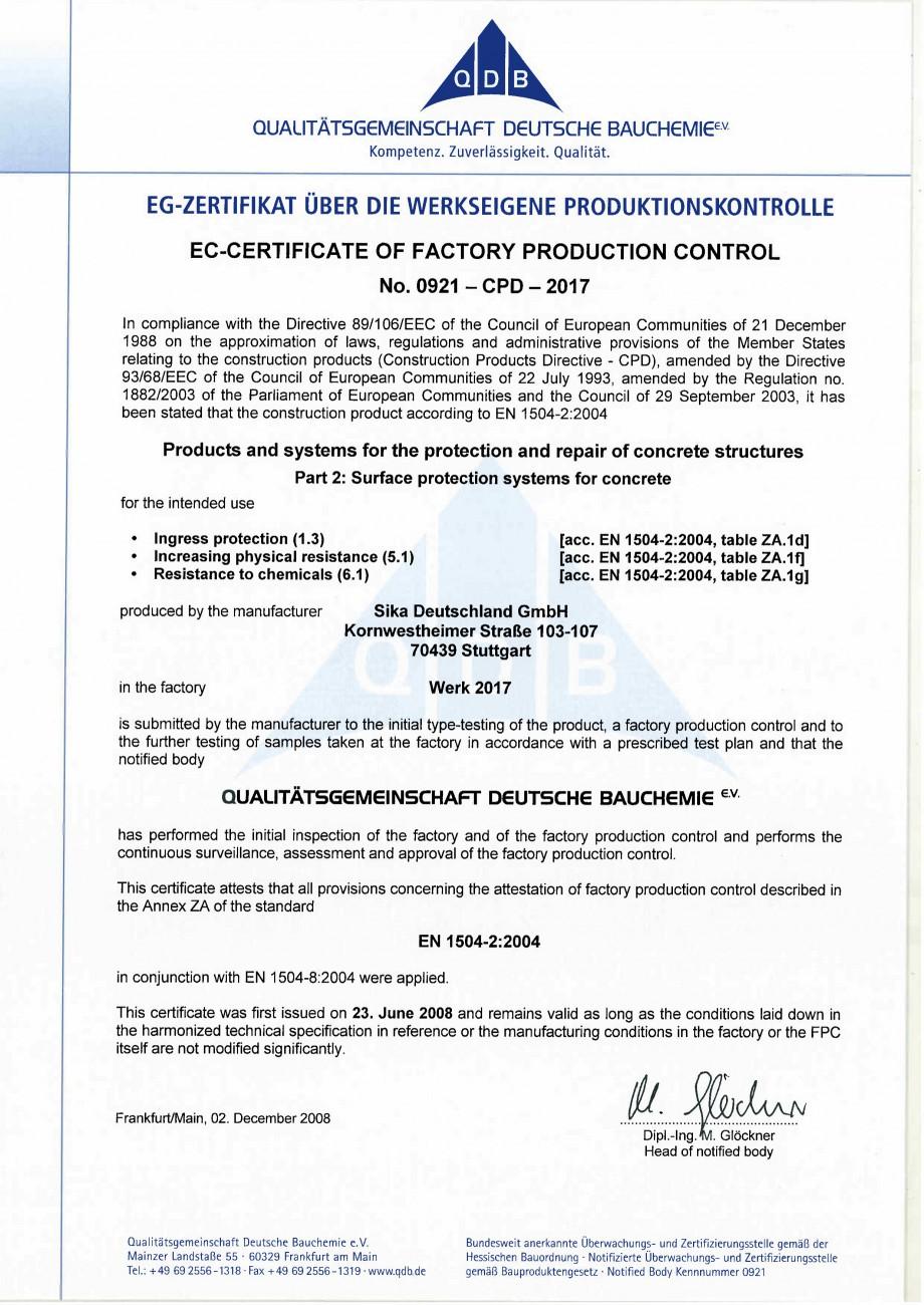 Pagina 2 - Declaratie de conformitate SIKA Sikafloor®-400 N Elastic Certificare produs Engleza