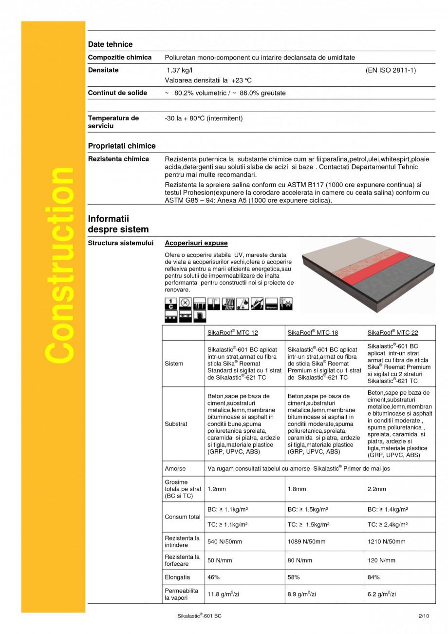 Pagina 2 - Membrana lichida hidroizolanta pentru acoperisuri SIKA Sikalastic®-601 BC Fisa...