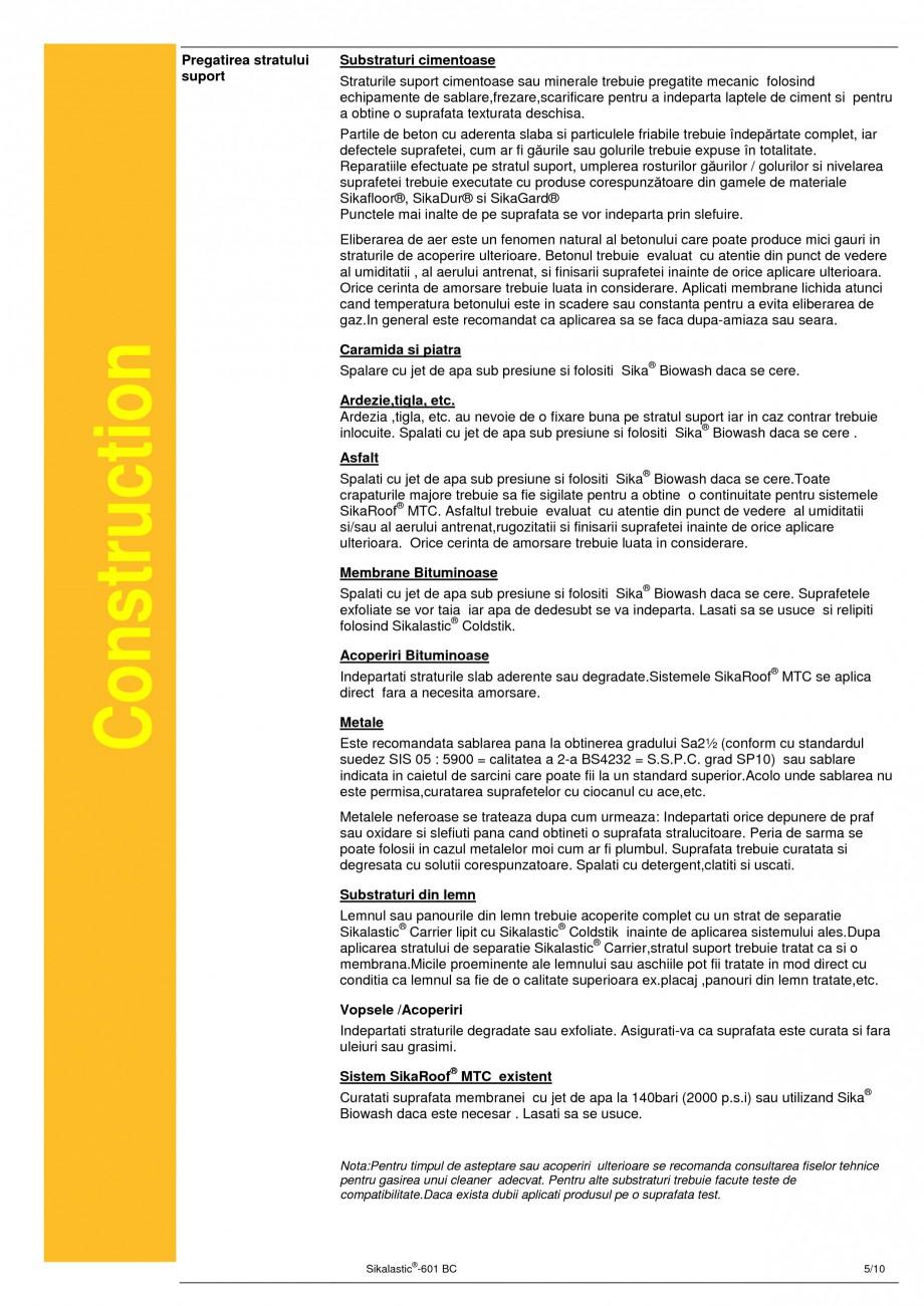 Pagina 5 - Membrana lichida hidroizolanta pentru acoperisuri SIKA Sikalastic®-601 BC Fisa...