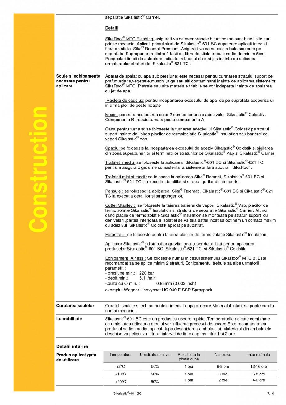 Pagina 7 - Membrana lichida hidroizolanta pentru acoperisuri SIKA Sikalastic®-601 BC Fisa...