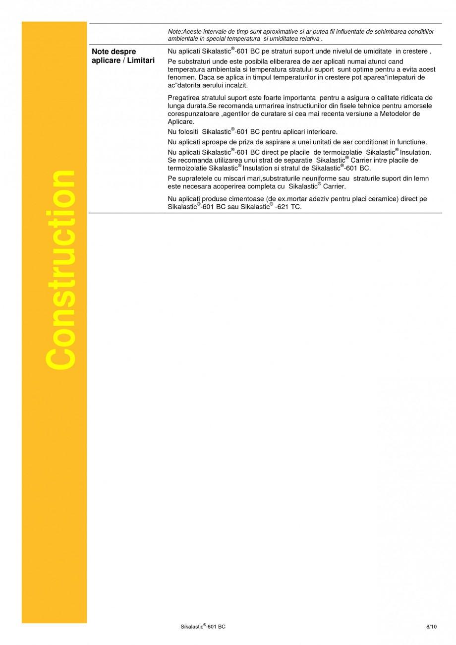 Pagina 8 - Membrana lichida hidroizolanta pentru acoperisuri SIKA Sikalastic®-601 BC Fisa...