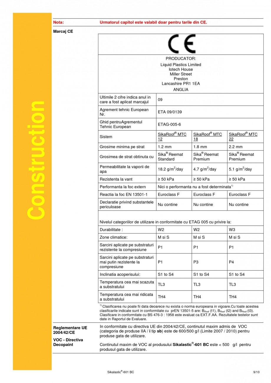Pagina 9 - Membrana lichida hidroizolanta pentru acoperisuri SIKA Sikalastic®-601 BC Fisa...