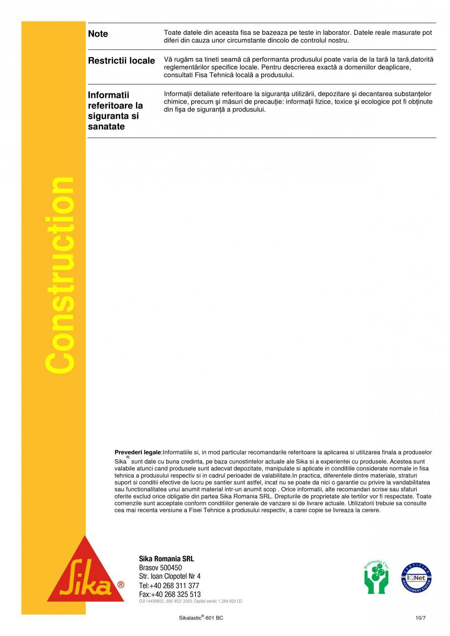 Pagina 10 - Membrana lichida hidroizolanta pentru acoperisuri SIKA Sikalastic®-601 BC Fisa...