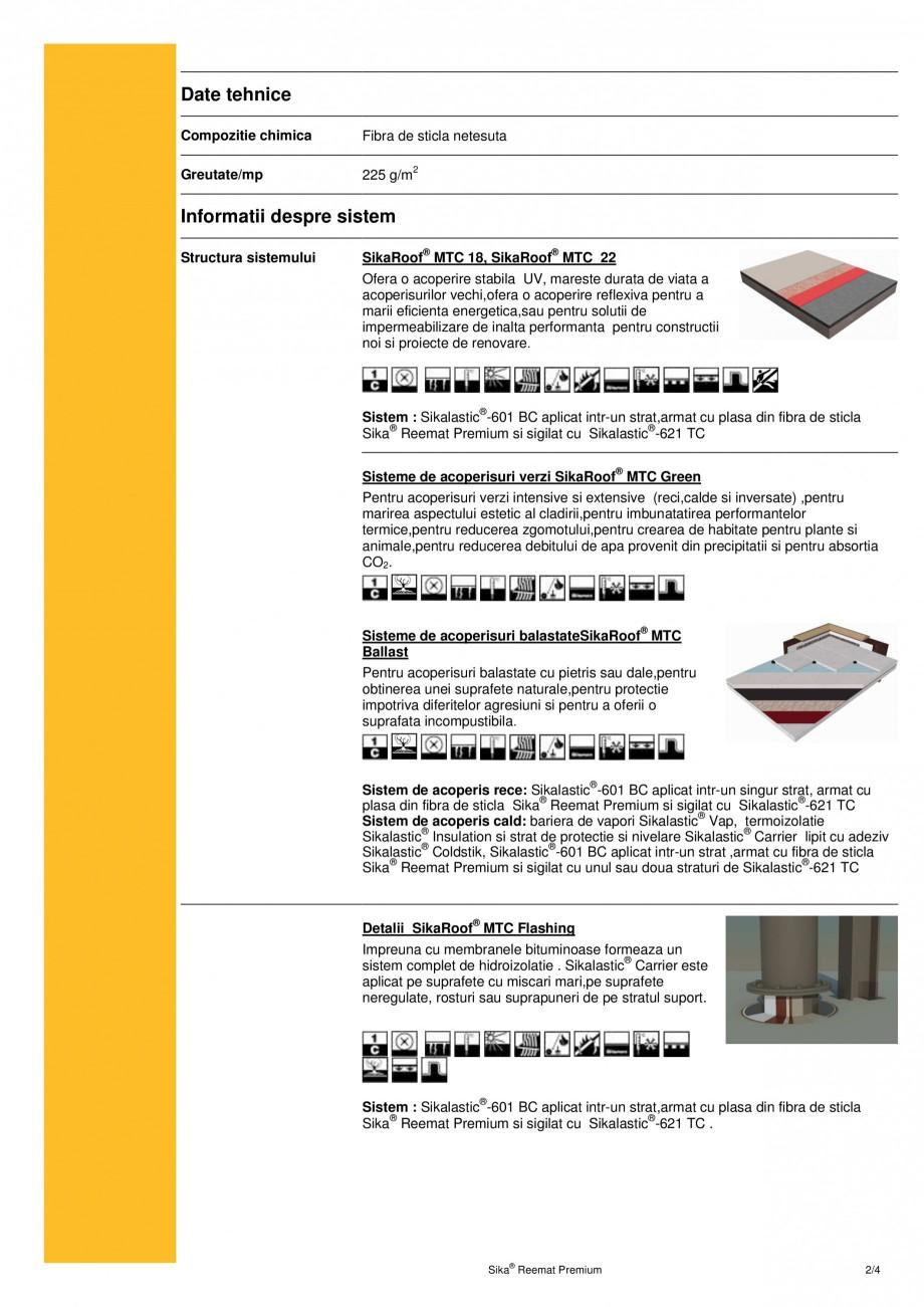 Pagina 2 - Armatura din fibra de sticla pentru membrana lichida SIKA Sika® Reemat Premium Fisa...