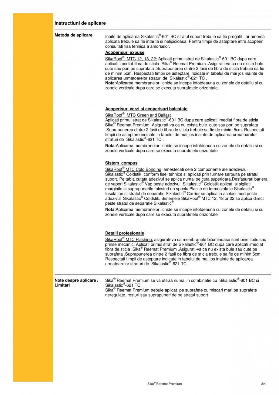 Pagina 3 - Armatura din fibra de sticla pentru membrana lichida SIKA Sika® Reemat Premium Fisa...