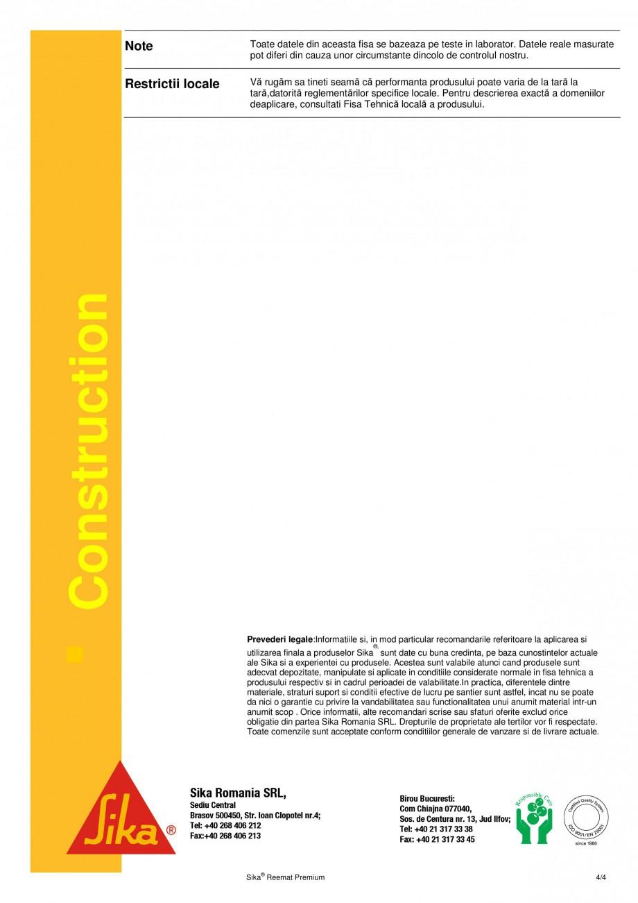 Pagina 4 - Armatura din fibra de sticla pentru membrana lichida SIKA Sika® Reemat Premium Fisa...