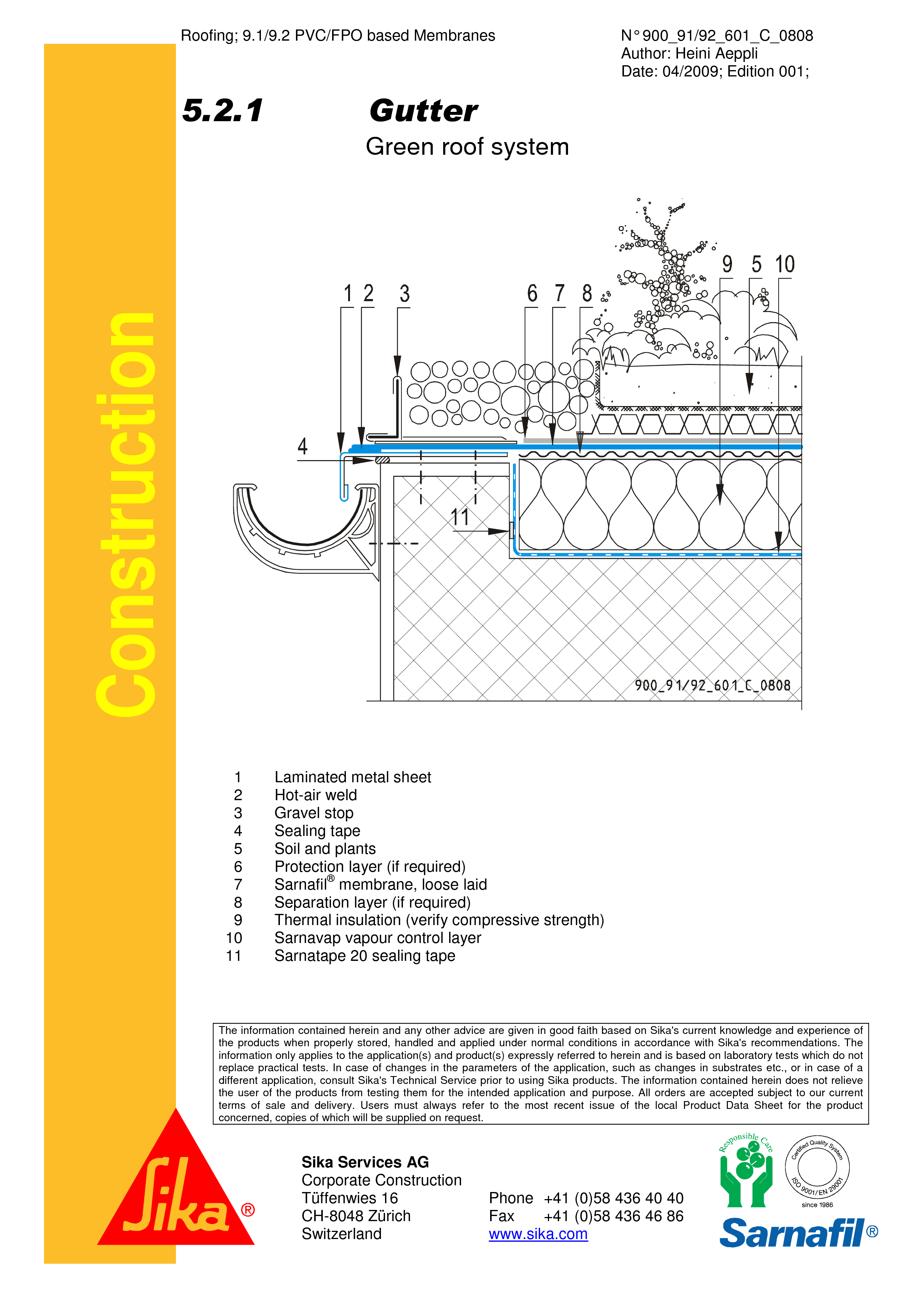 Pagina 1 - CAD-PDF Hidroizolatii acoperisuri verzi-detaliu de scurgere jgeab SIKA Detaliu de montaj ...