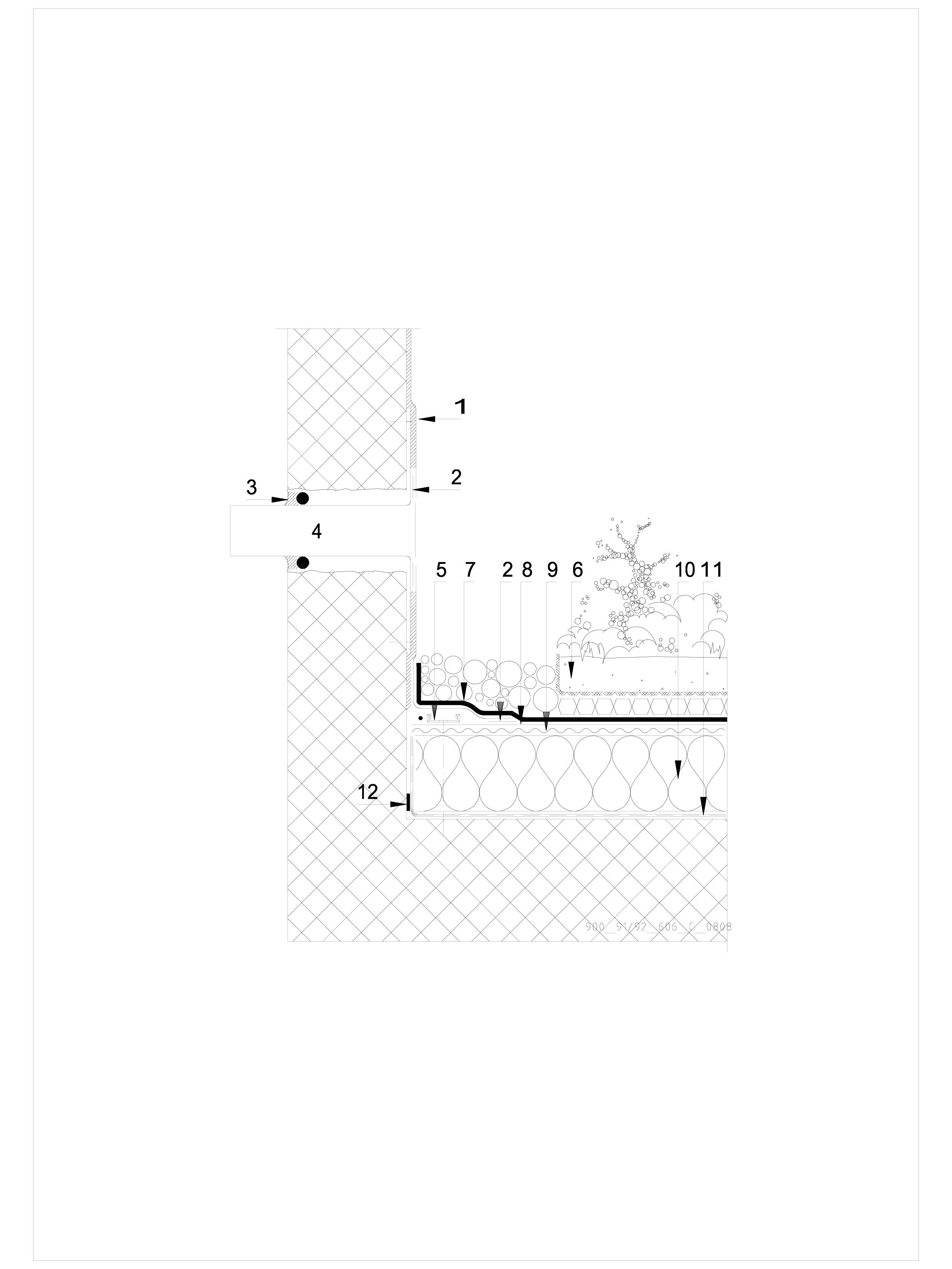 Pagina 1 - CAD-DWG Hidroizolatii acoperisuri verzi-detaliu de evacuare apa, preaplin SIKA Detaliu de...