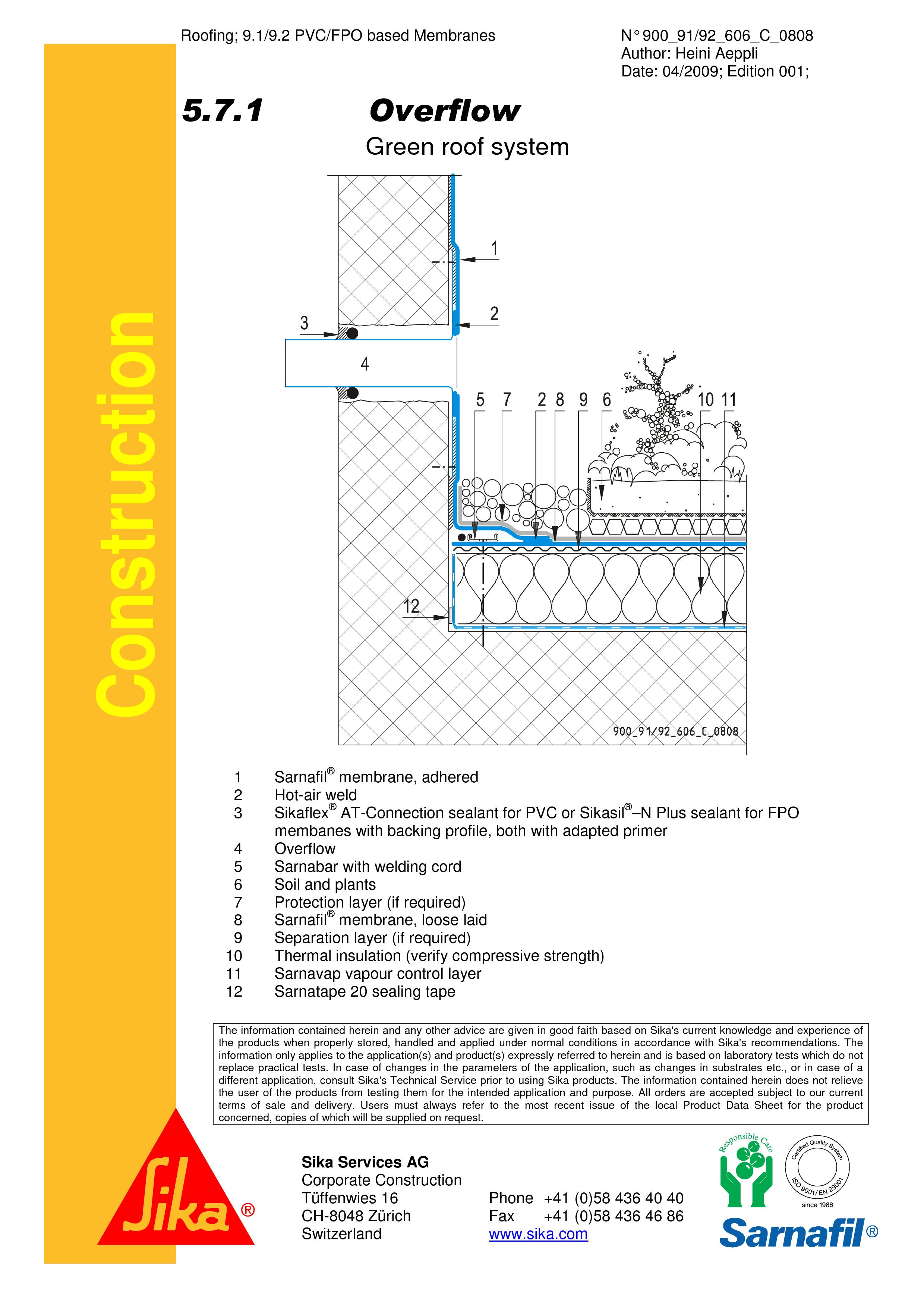 Pagina 1 - CAD-PDF Hidroizolatii acoperisuri verzi-detaliu de evacuare apa, preaplin SIKA Detaliu de...