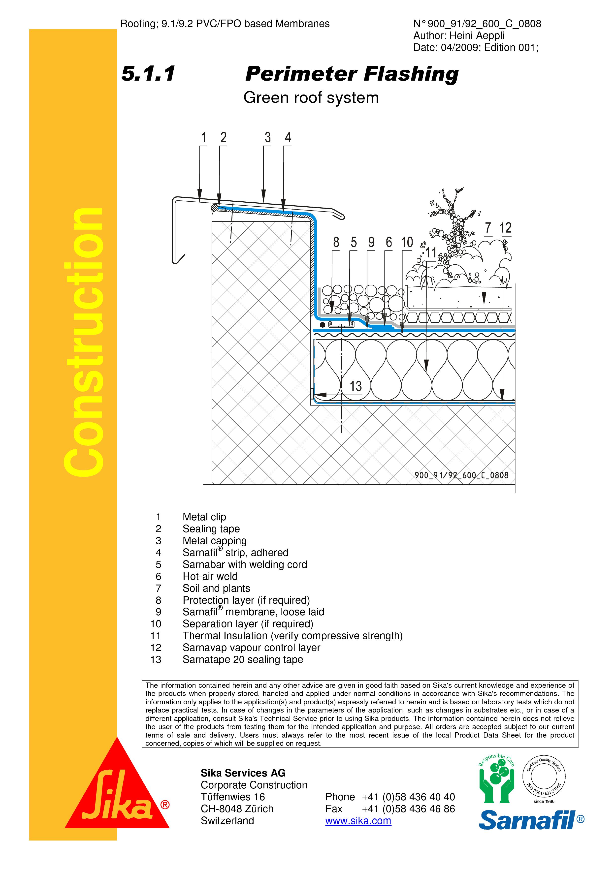 Pagina 1 - CAD-PDF Hidroizolatii acoperisuri verzi-detaliu de atic SIKA Detaliu de montaj Sika...