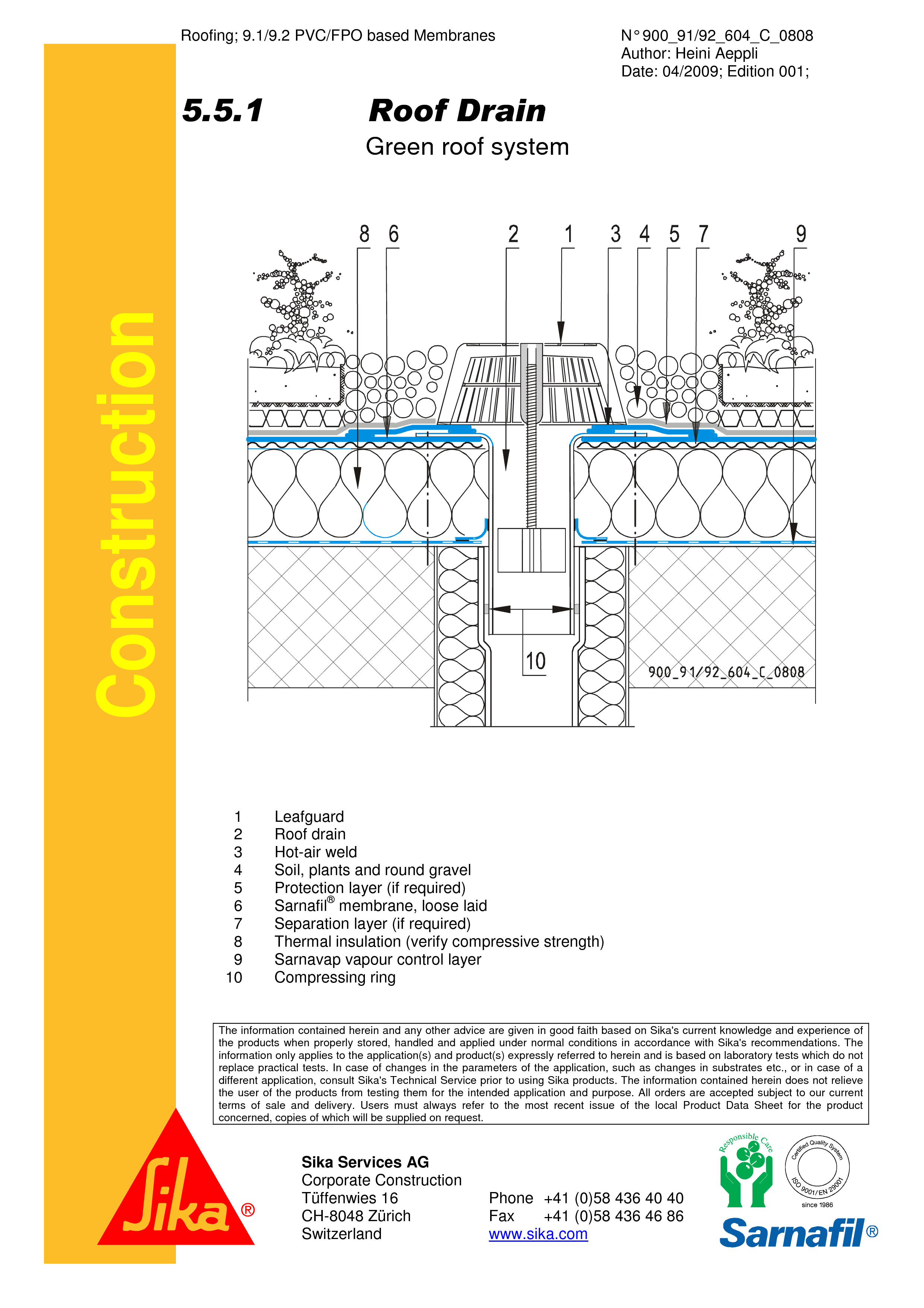 Pagina 1 - CAD-PDF Hidroizolatii acoperisuri verzi-detaliu gura de scurgere SIKA Detaliu de montaj...