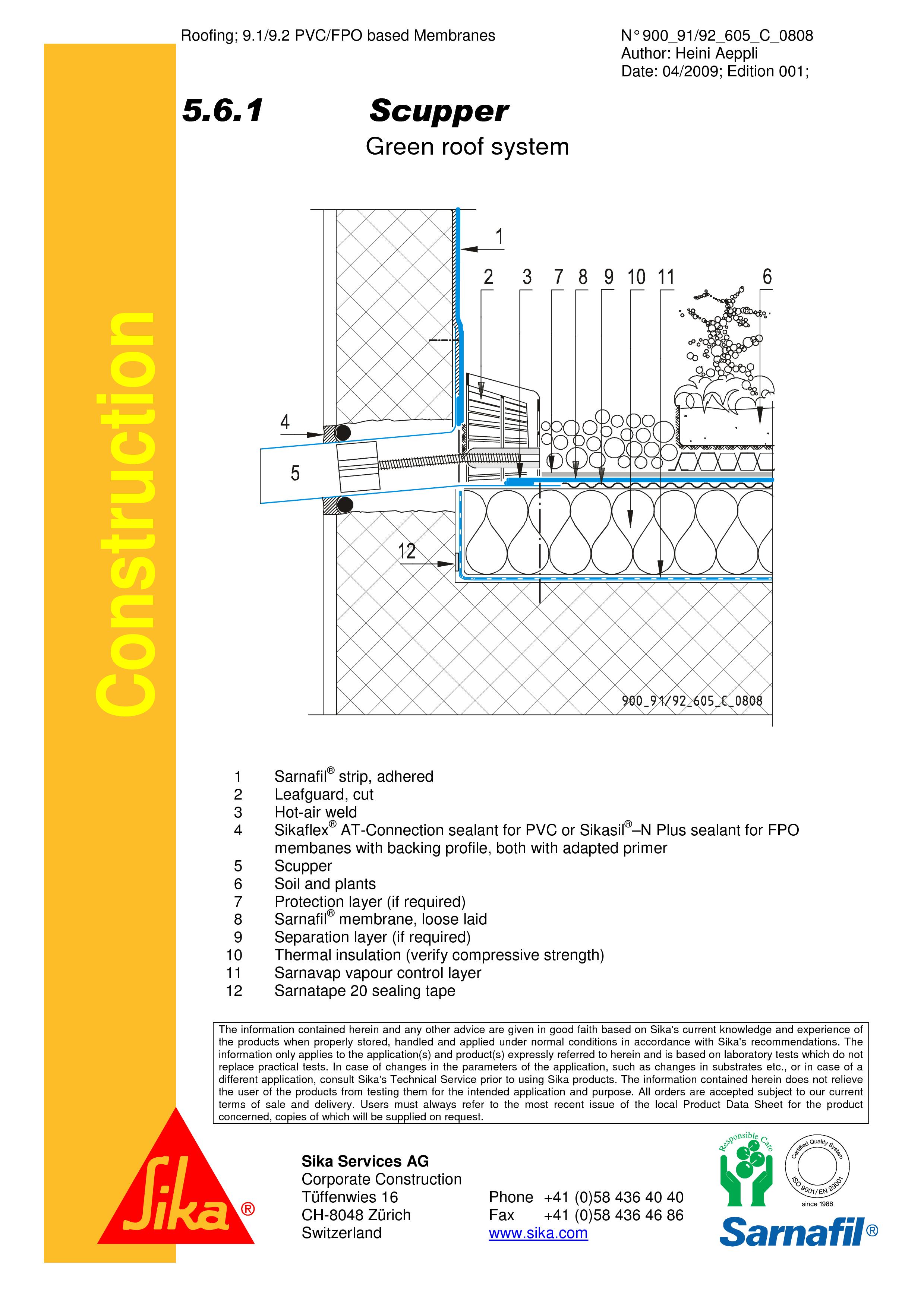 Pagina 1 - CAD-PDF Hidroizolatii acoperisuri verzi-detaliu de scurgre laterala (gargui) SIKA Detaliu...