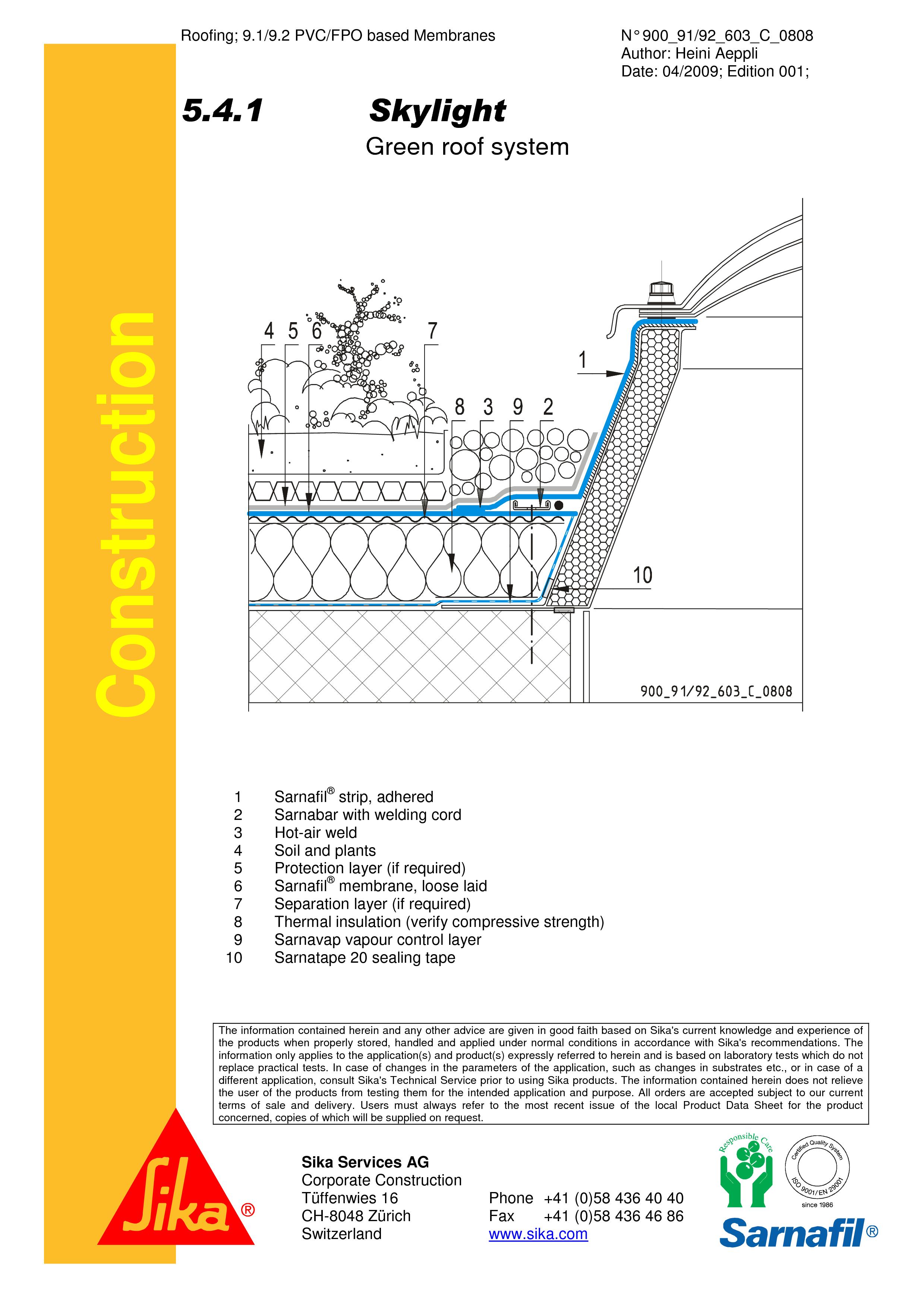 Pagina 1 - CAD-PDF Hidroizolatii acoperisuri verzi-detaliu de racord la luminator SIKA Detaliu de...
