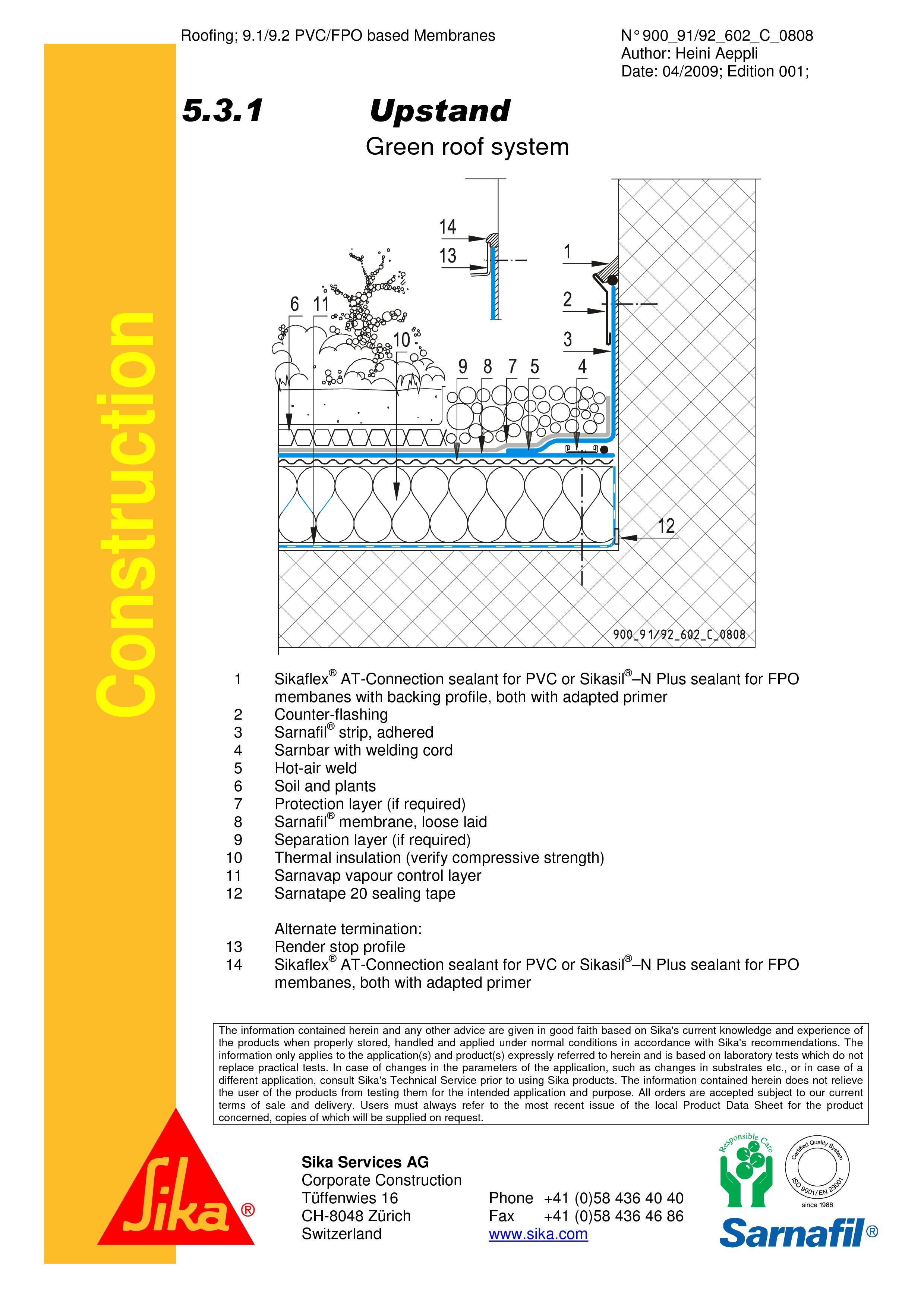 Pagina 1 - CAD-PDF Hidroizolatii acoperisuri verzi-detaliu de etansare SIKA Detaliu de montaj Sika...
