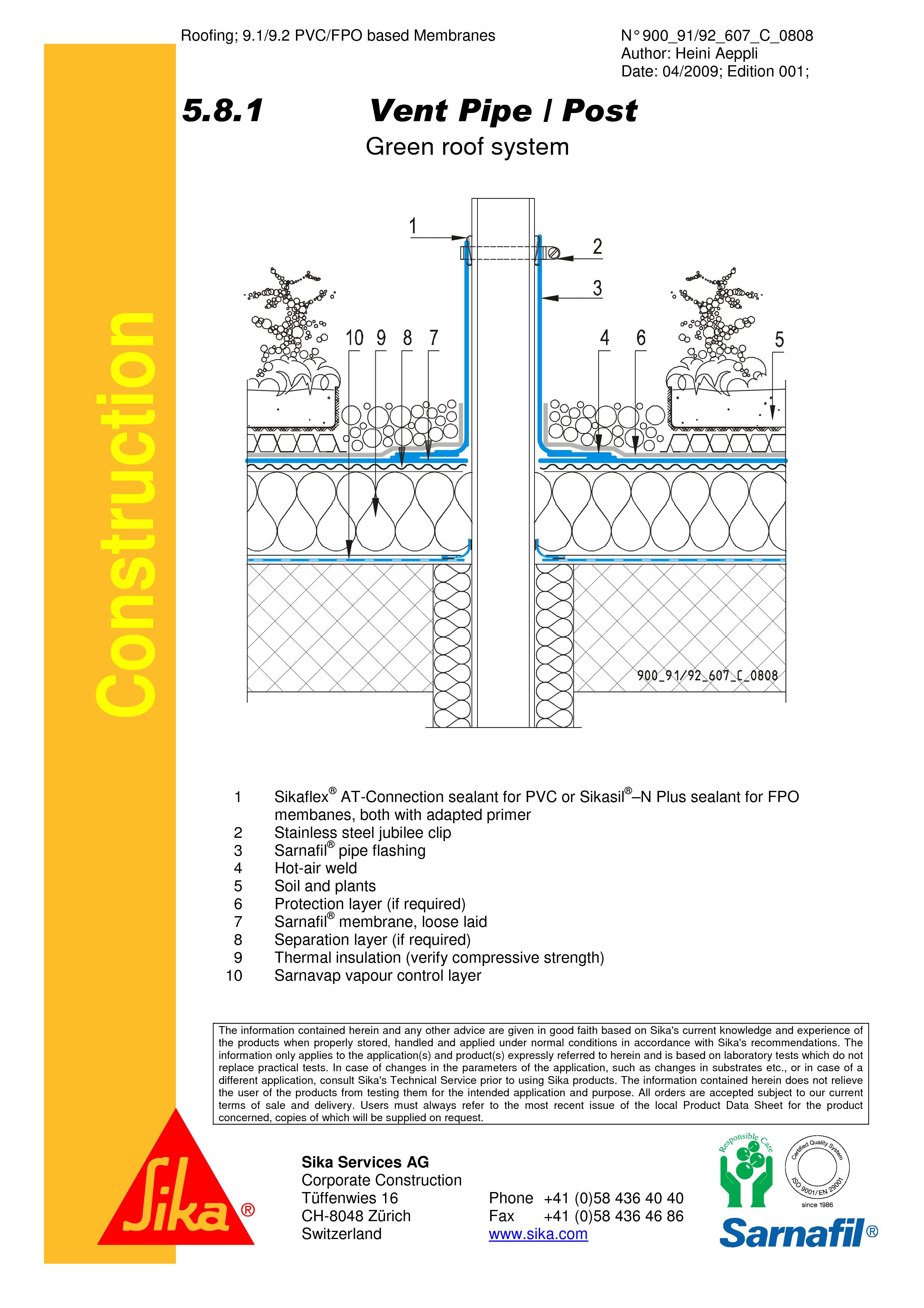 Pagina 1 - CAD-PDF Hidroizolatii acoperisuri verzi-detaliu de ventilare SIKA Detaliu de montaj Sika ...