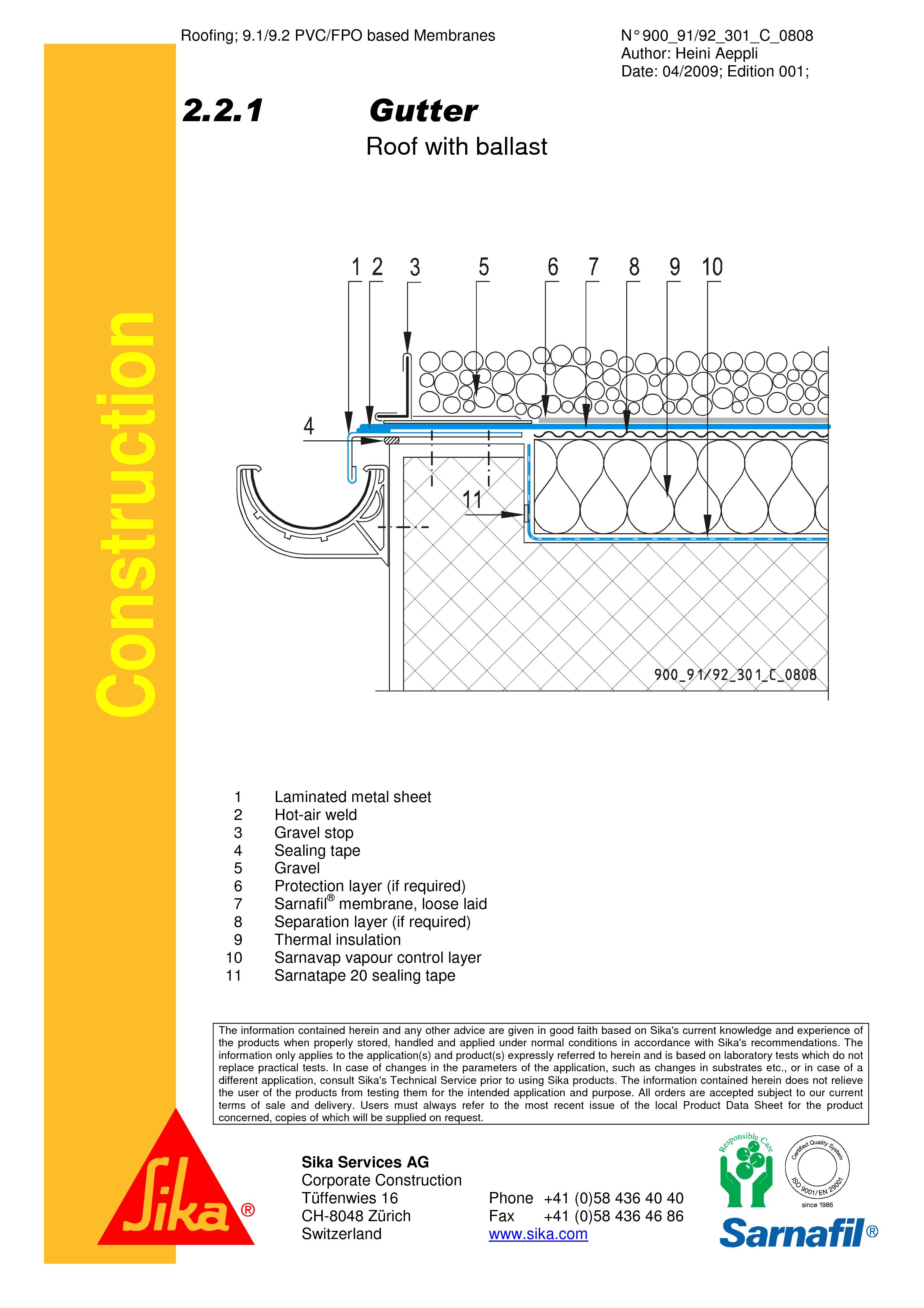 Pagina 1 - CAD-PDF Terasa recirculabila cu pietris-detaliu de scurgere jgheab SIKA Detaliu de montaj...