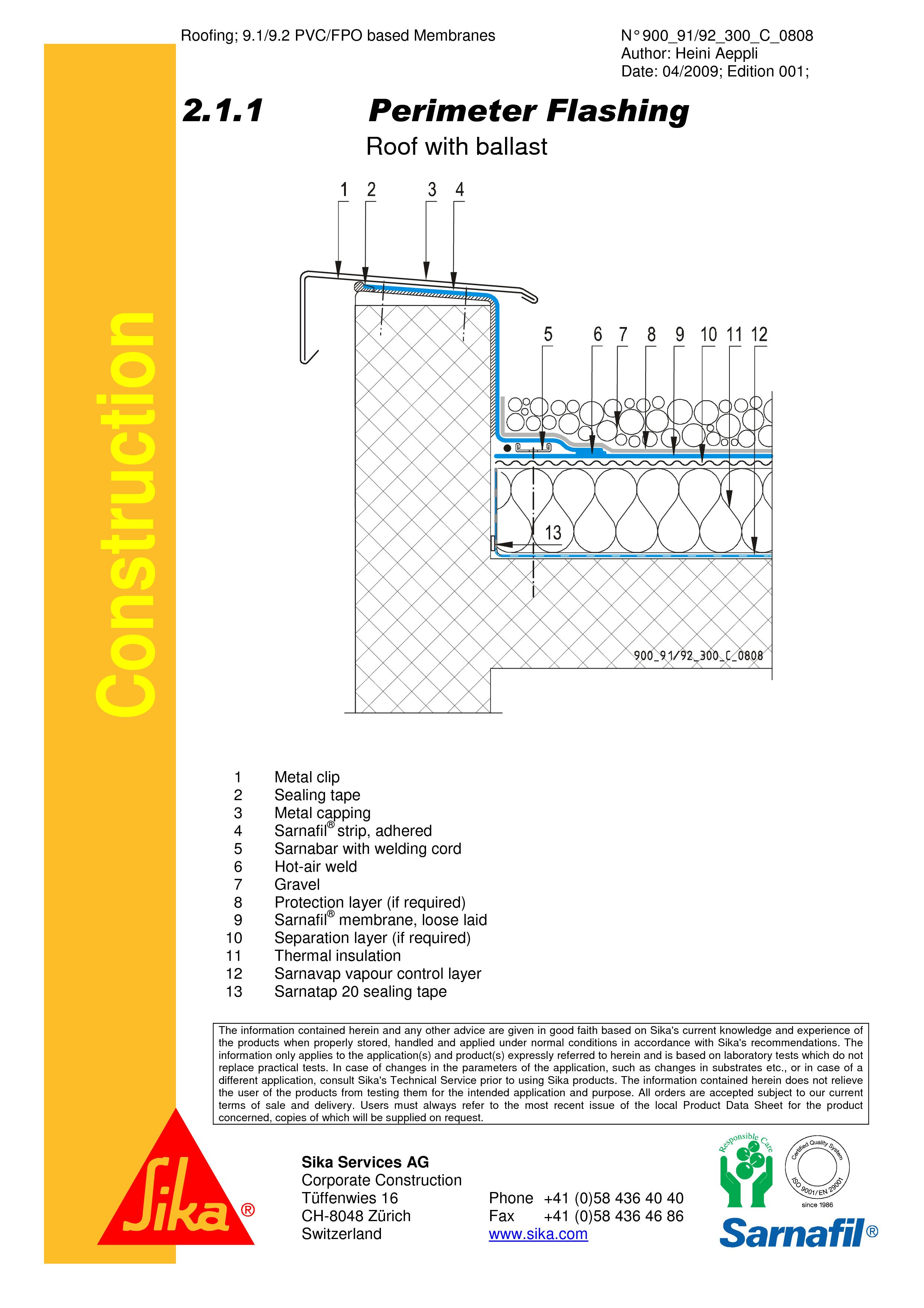 Pagina 1 - CAD-PDF Terasa recirculabila cu pietris-detaliu de atic SIKA Detaliu de montaj Sika...