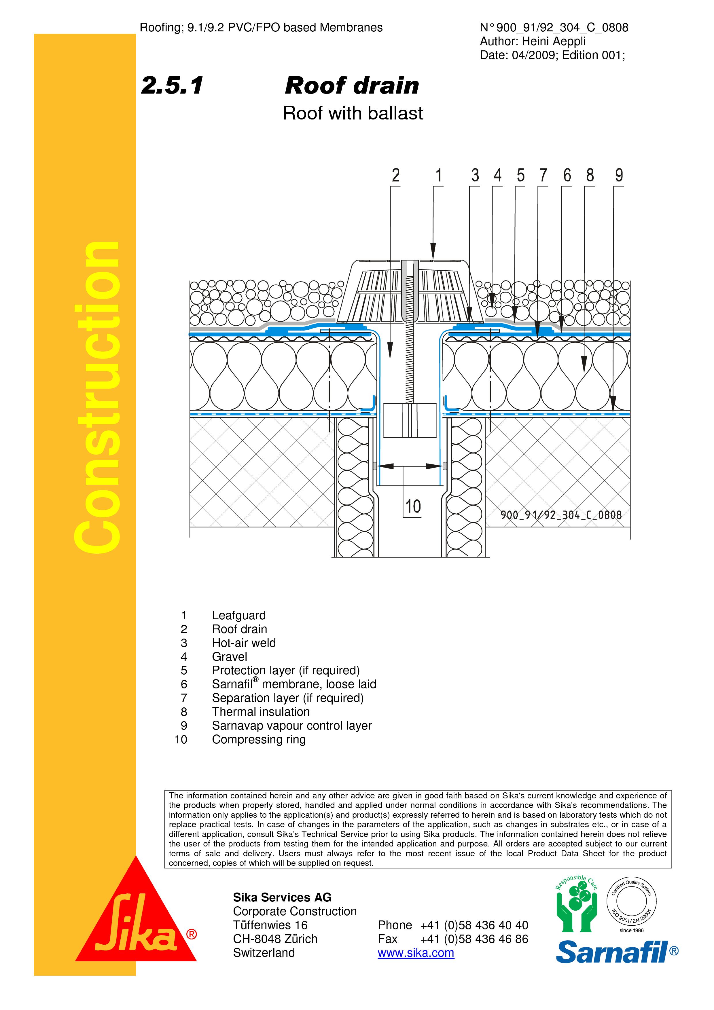 Pagina 1 - CAD-PDF Terasa recirculabila cu pietris-detaliu gura de scurgere SIKA Detaliu de montaj...