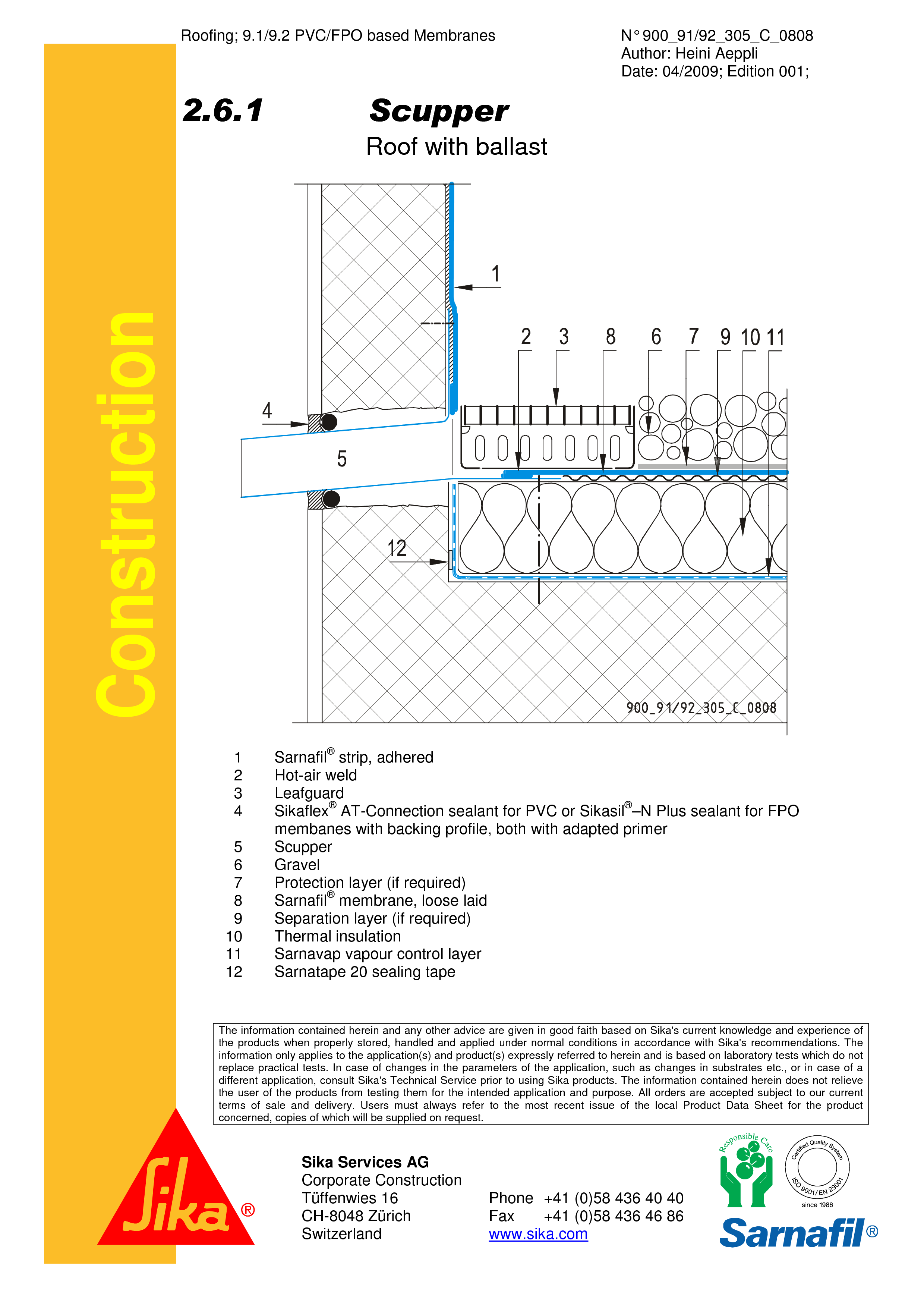 Pagina 1 - CAD-PDF Terasa recirculabila cu pietris-detaliu de scurgere laterala (gargui) SIKA...