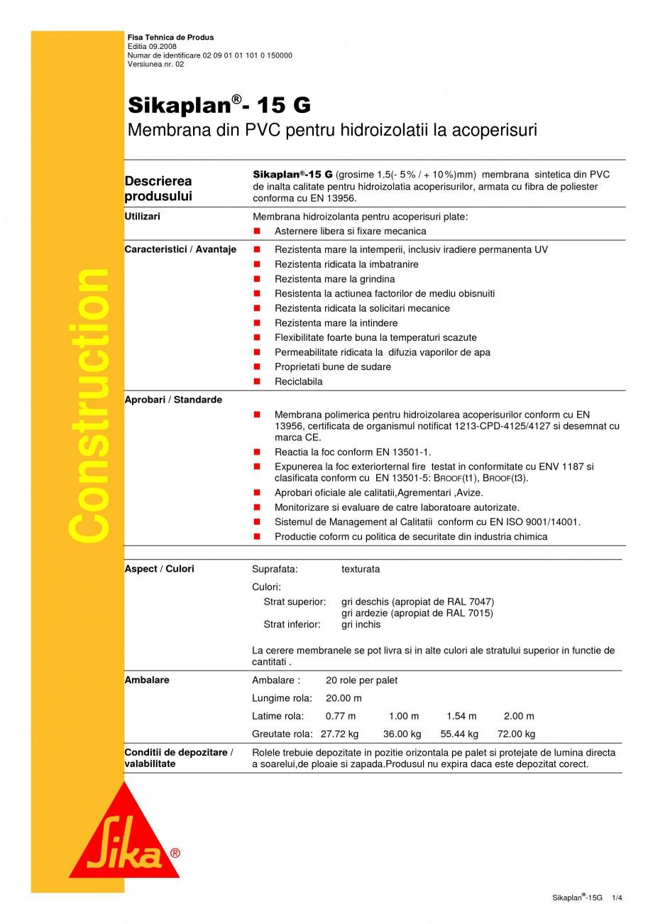 Pagina 1 - Membrana din PVC pentru hidroizolatii la acoperisuri SIKA Sikaplan®-15 G Fisa tehnica...