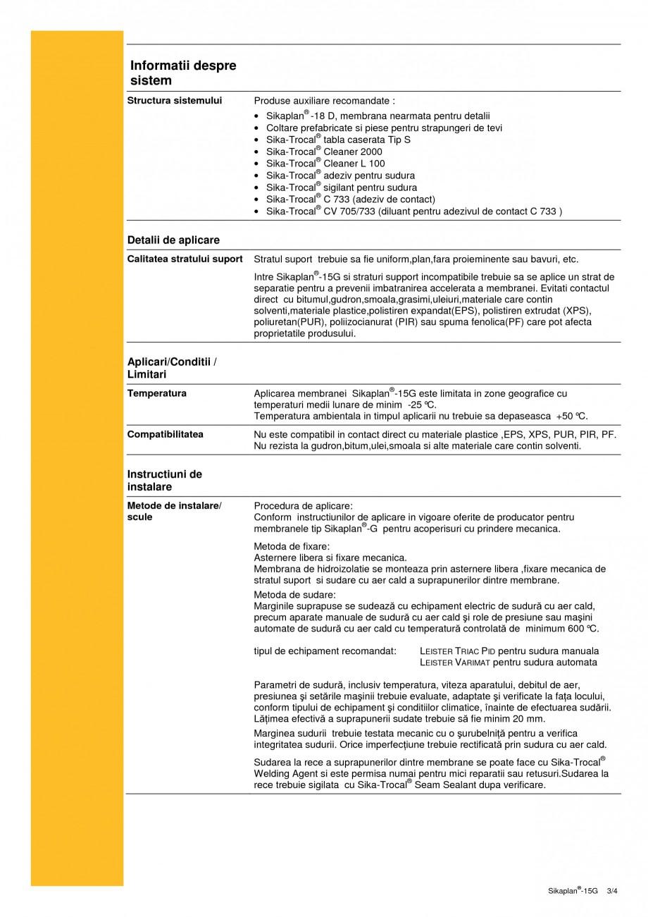 Pagina 3 - Membrana din PVC pentru hidroizolatii la acoperisuri SIKA Sikaplan®-15 G Fisa tehnica...