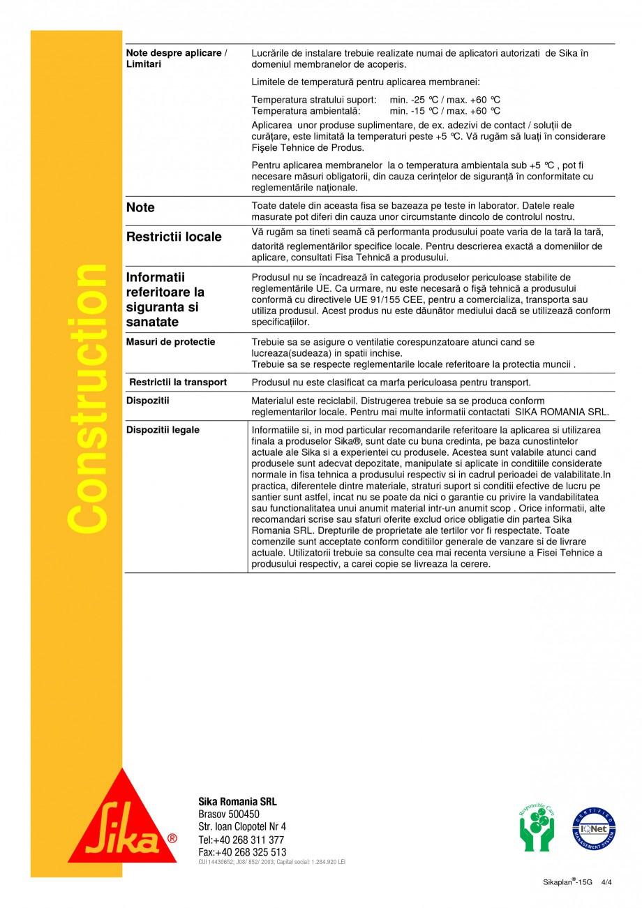 Pagina 4 - Membrana din PVC pentru hidroizolatii la acoperisuri SIKA Sikaplan®-15 G Fisa tehnica...