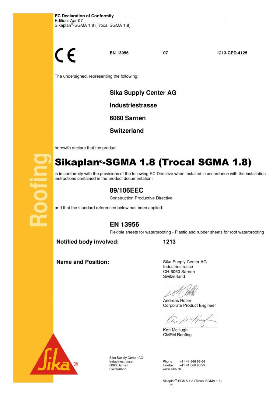 Certificare Produs Declaratie De Conformitate Sika Trocal