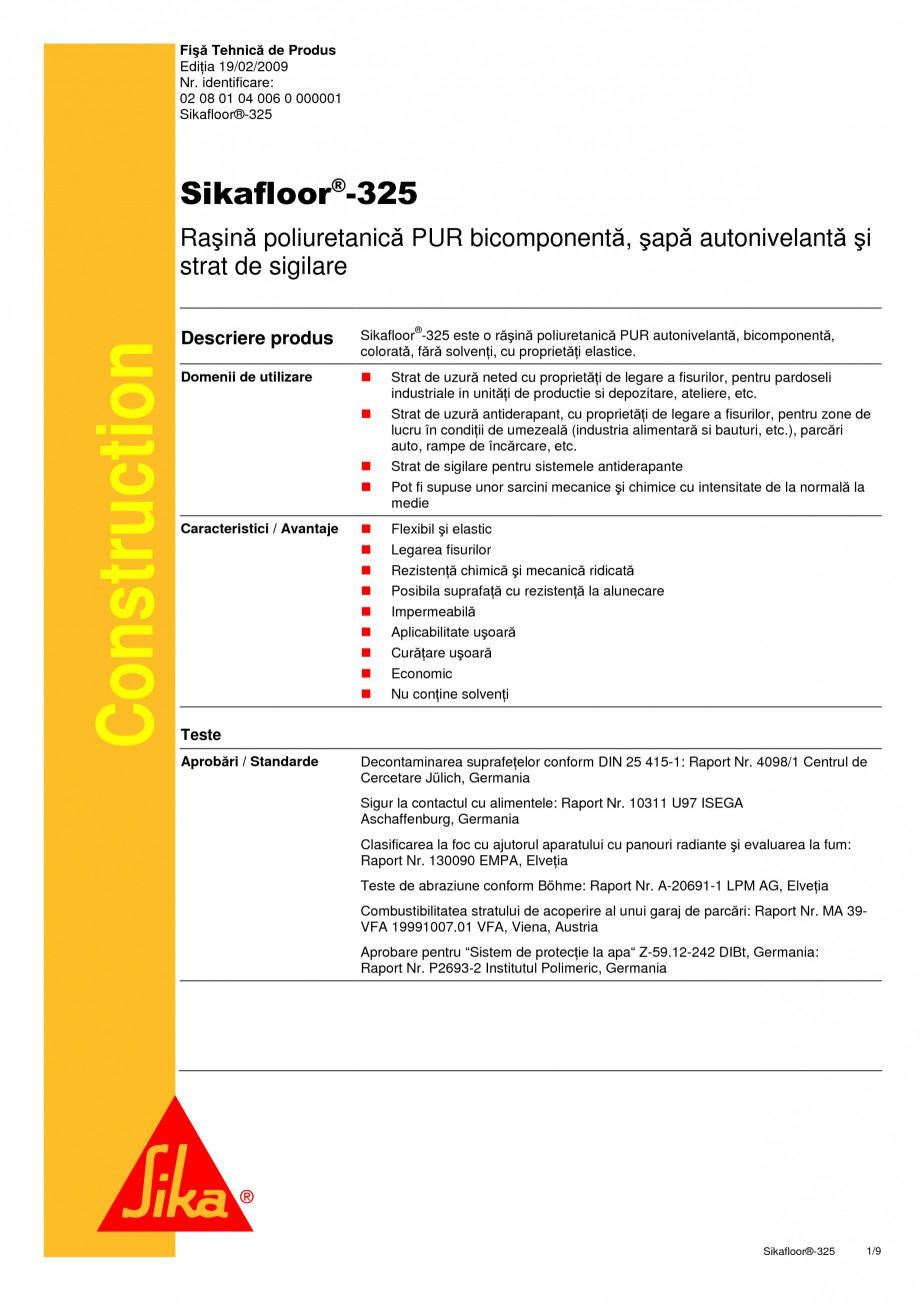 Pagina 1 - Rasina poliuretanica PUR bicomponenta, sapa autonivelanta si strat de sigilare SIKA...