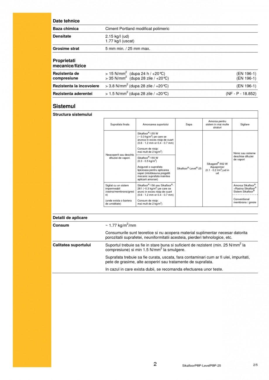 Pagina 2 - Sapa autonivelanta pe baza de ciment SIKA Sikafloor®-Level-25 Fisa tehnica Romana ...