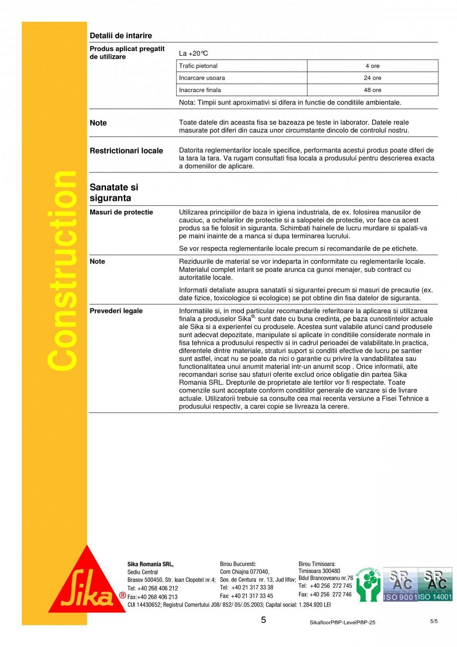 Pagina 5 - Sapa autonivelanta pe baza de ciment SIKA Sikafloor®-Level-25 Fisa tehnica Romana...