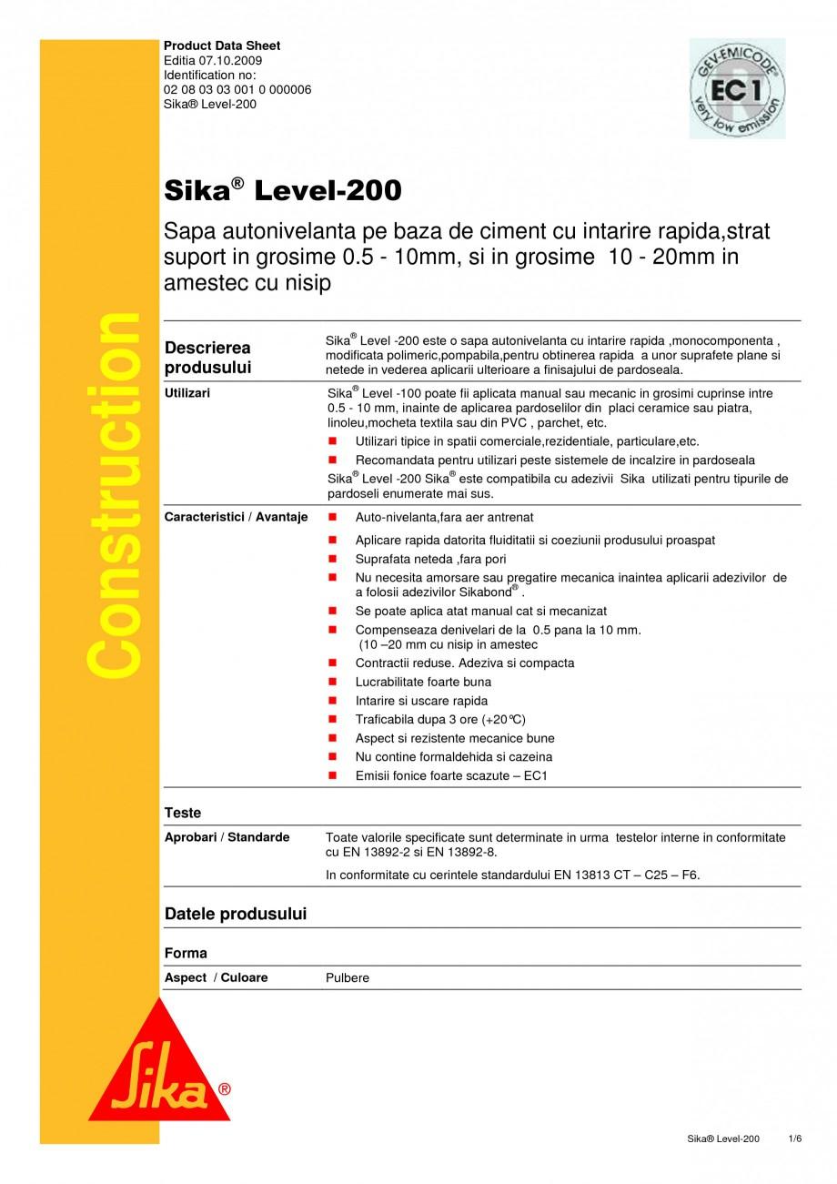 Pagina 1 - Sapa autonivelanta pe baza de ciment cu intarire rapida SIKA Sika® Level-200 Fisa...