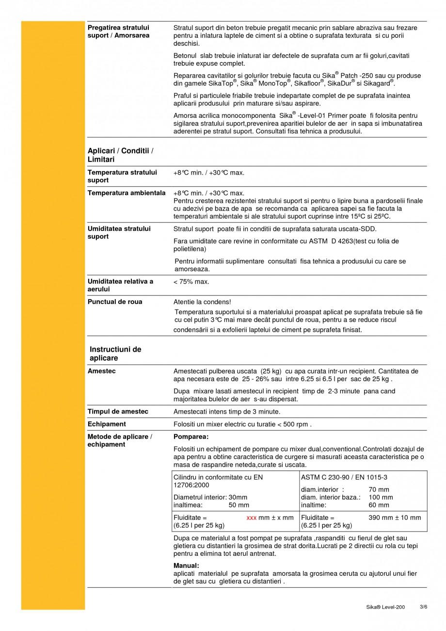 Pagina 3 - Sapa autonivelanta pe baza de ciment cu intarire rapida SIKA Sika® Level-200 Fisa...