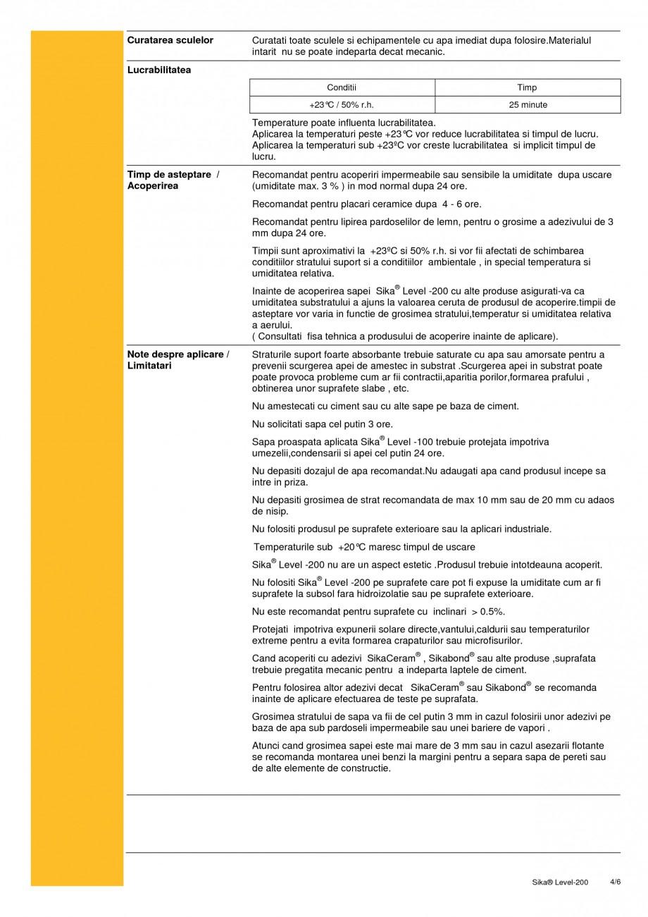 Pagina 4 - Sapa autonivelanta pe baza de ciment cu intarire rapida SIKA Sika® Level-200 Fisa...