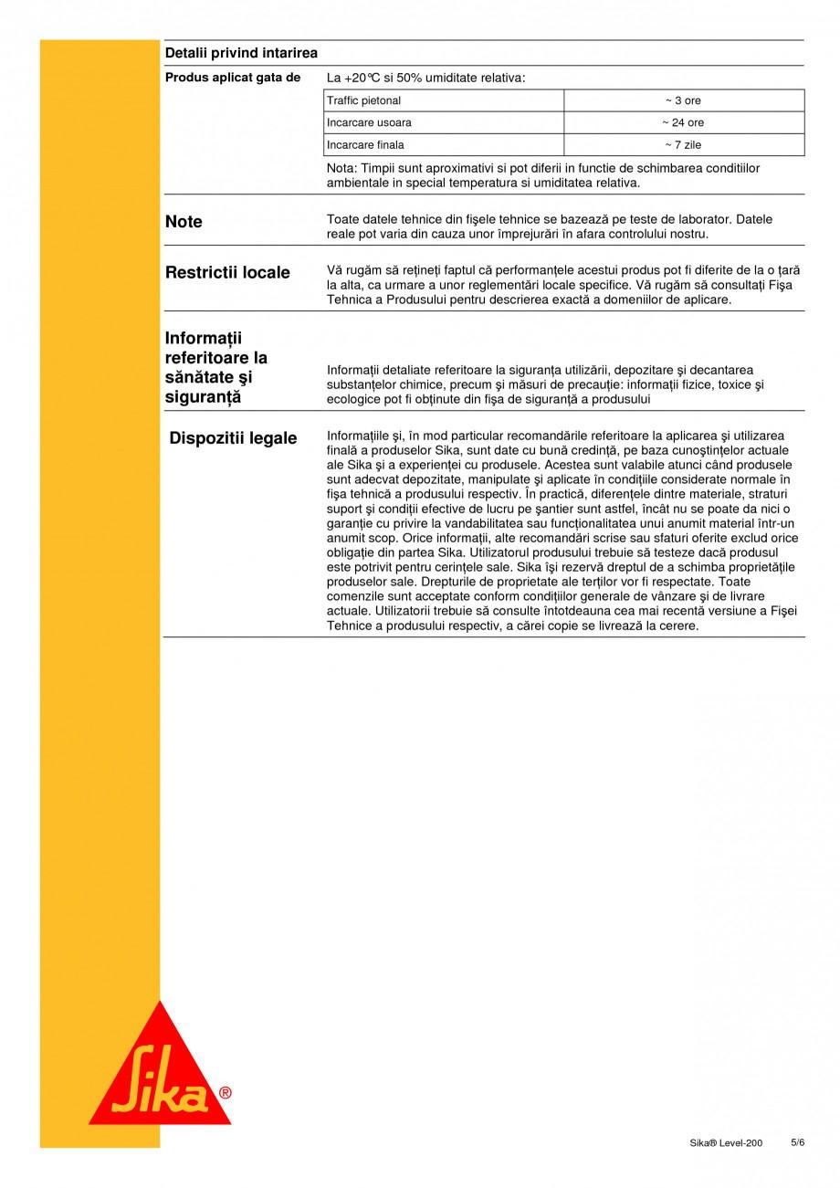 Pagina 5 - Sapa autonivelanta pe baza de ciment cu intarire rapida SIKA Sika® Level-200 Fisa...