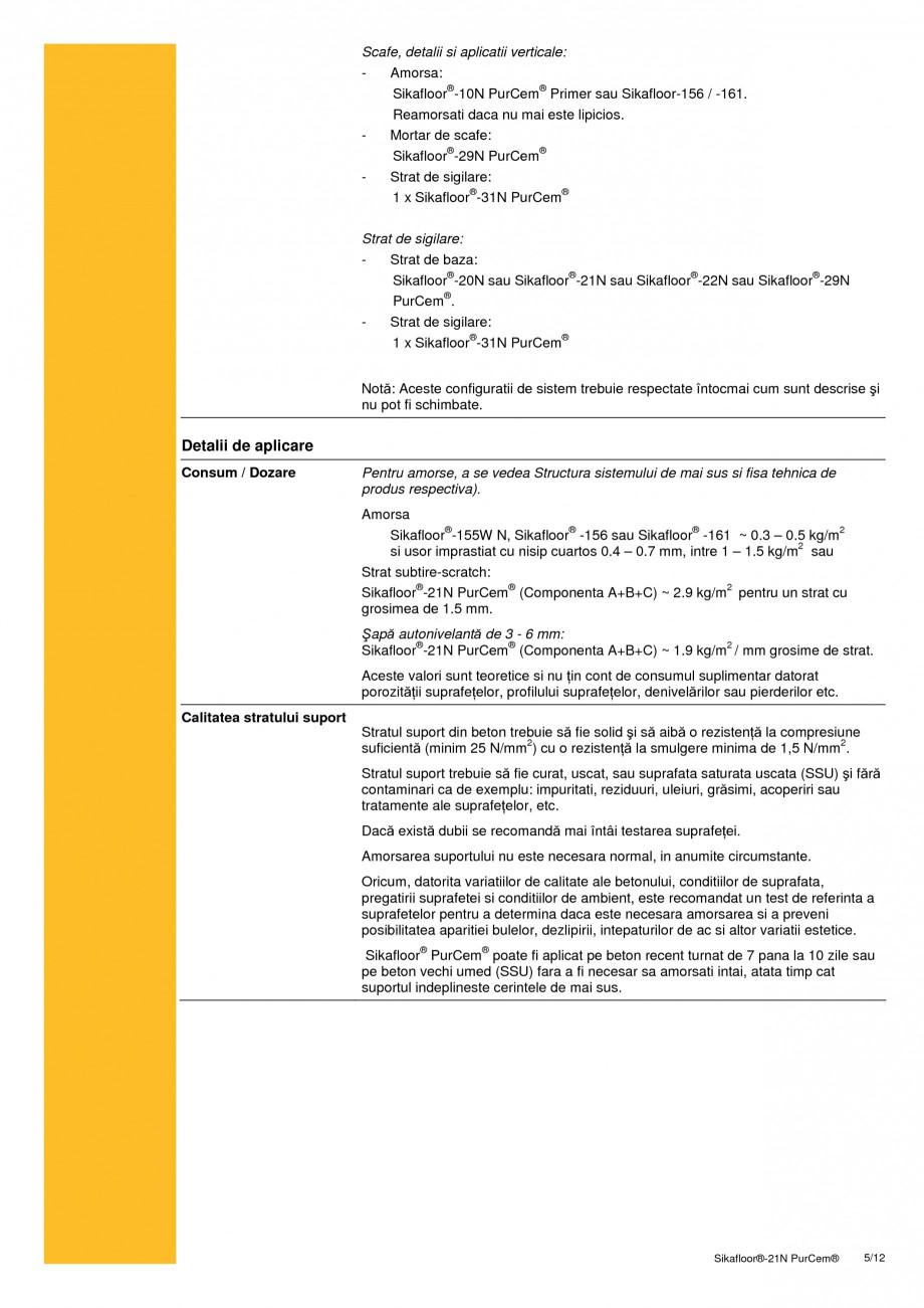 Pagina 5 - Sapa poliuretanica autonivelanta pentru incarcari medii si grele SIKA Sikafloor®-21 N...