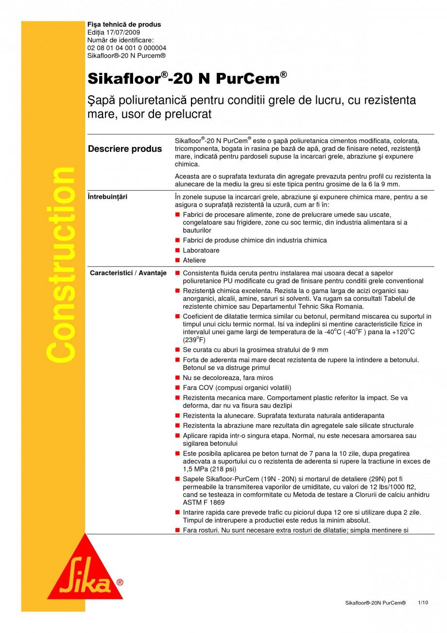 Pagina 1 - Sapa poliuretanica pentru conditii grele de lucru SIKA Sikafloor®-20 N PurCem®...