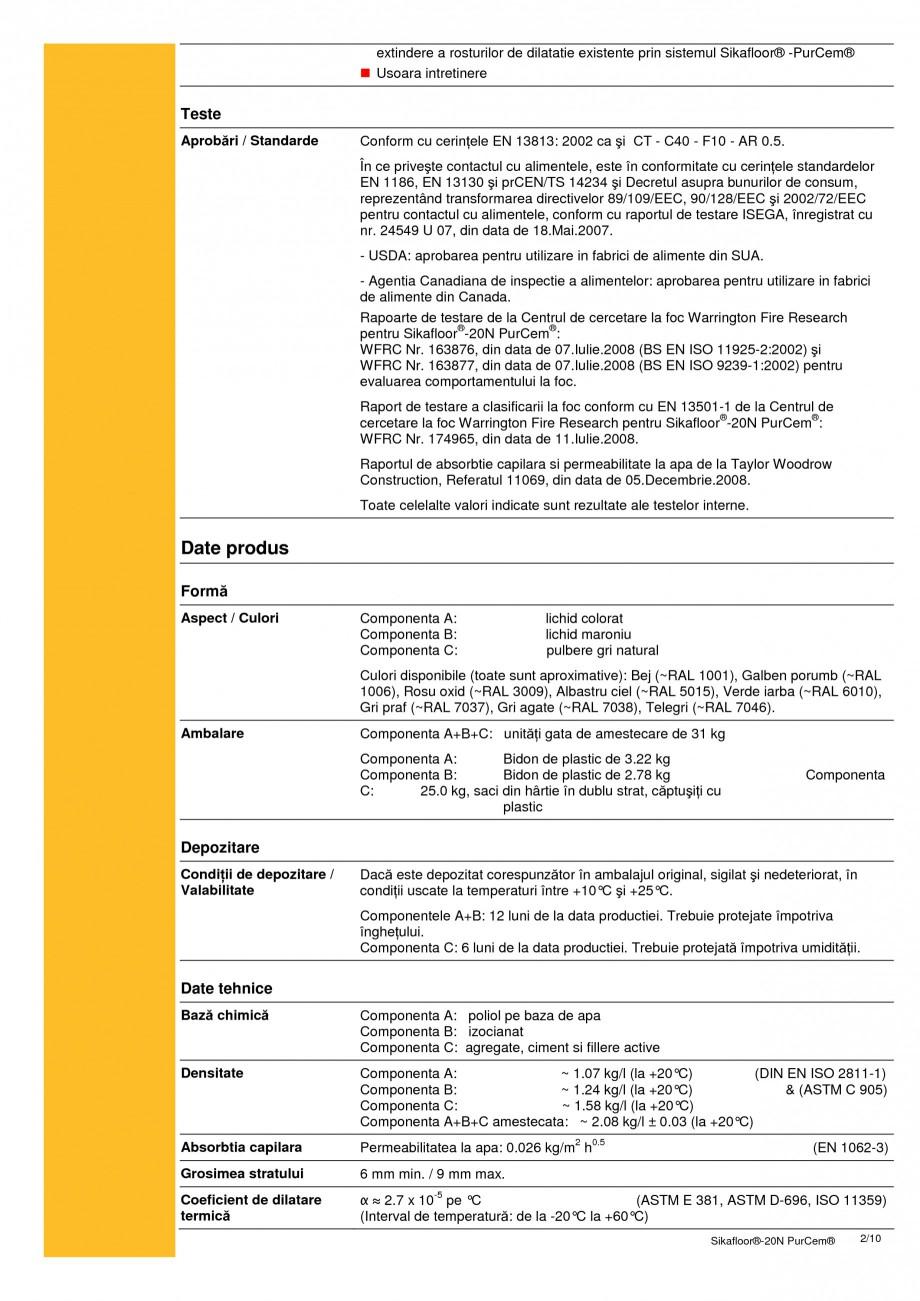 Pagina 2 - Sapa poliuretanica pentru conditii grele de lucru SIKA Sikafloor®-20 N PurCem®...