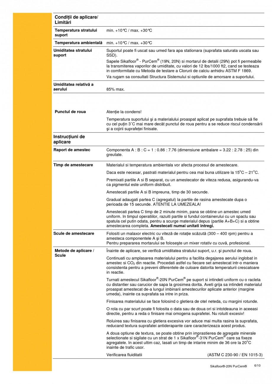 Pagina 6 - Sapa poliuretanica pentru conditii grele de lucru SIKA Sikafloor®-20 N PurCem®...
