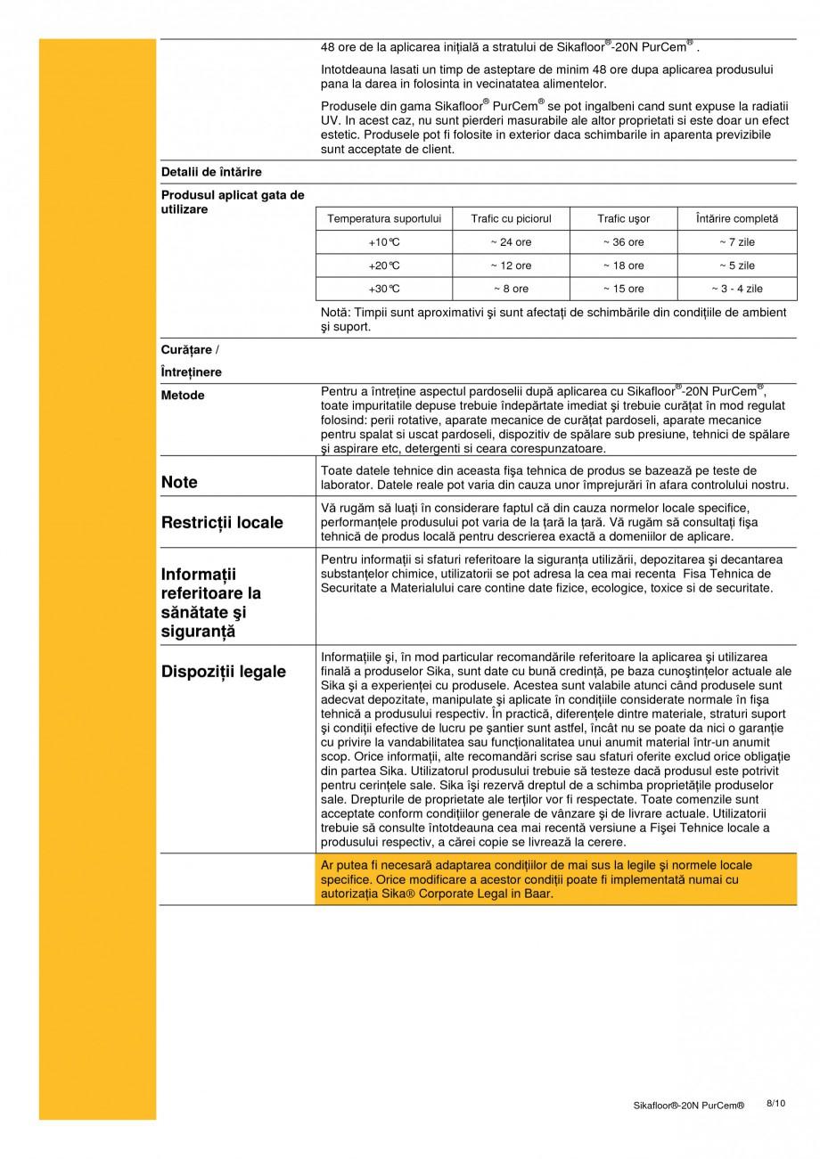 Pagina 8 - Sapa poliuretanica pentru conditii grele de lucru SIKA Sikafloor®-20 N PurCem®...