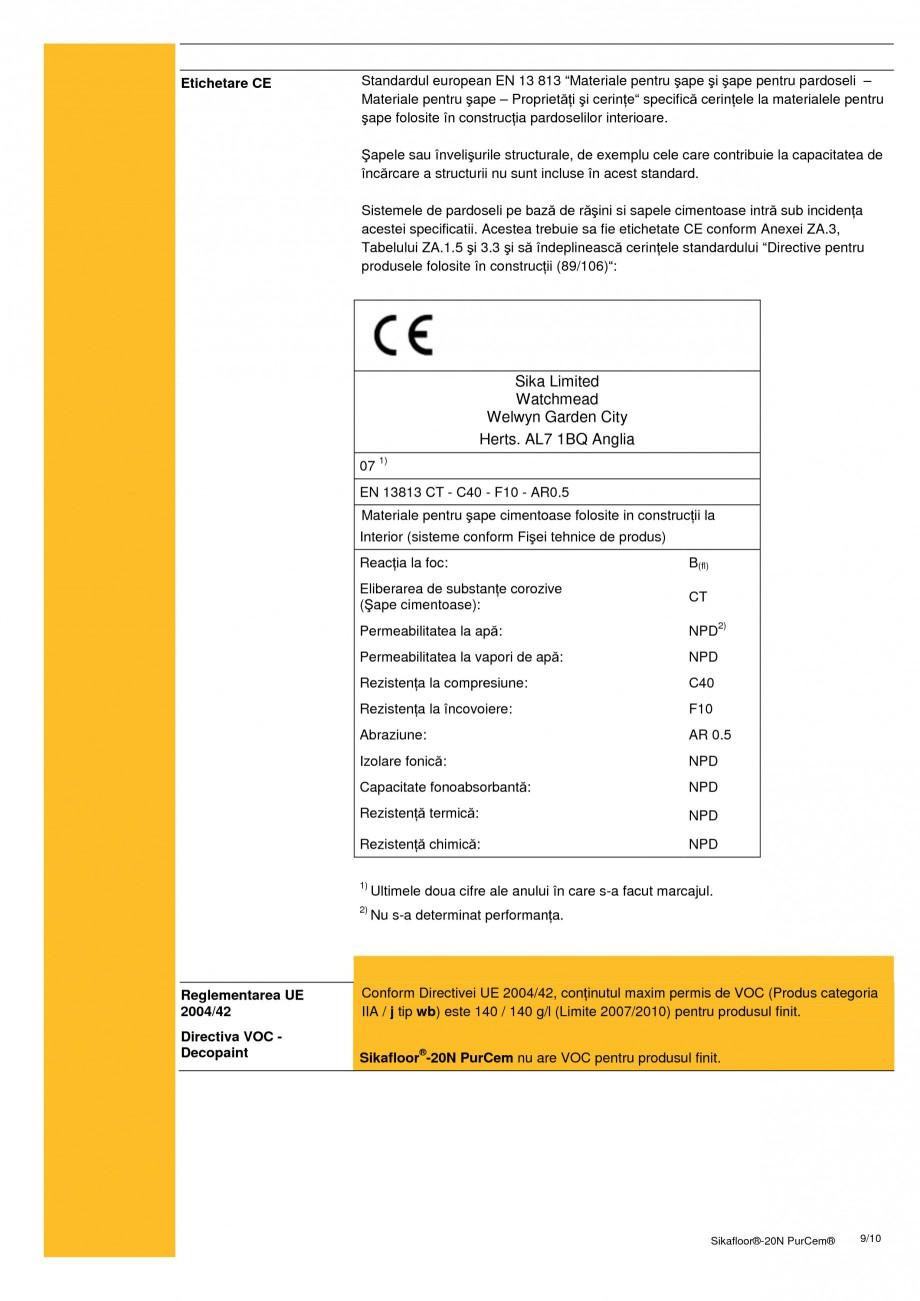 Pagina 9 - Sapa poliuretanica pentru conditii grele de lucru SIKA Sikafloor®-20 N PurCem®...