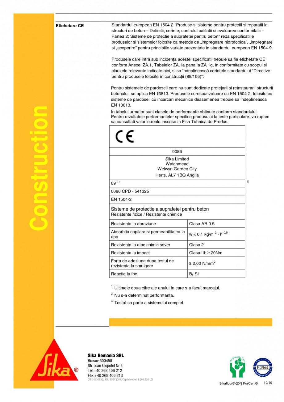 Pagina 10 - Sapa poliuretanica pentru conditii grele de lucru SIKA Sikafloor®-20 N PurCem®...
