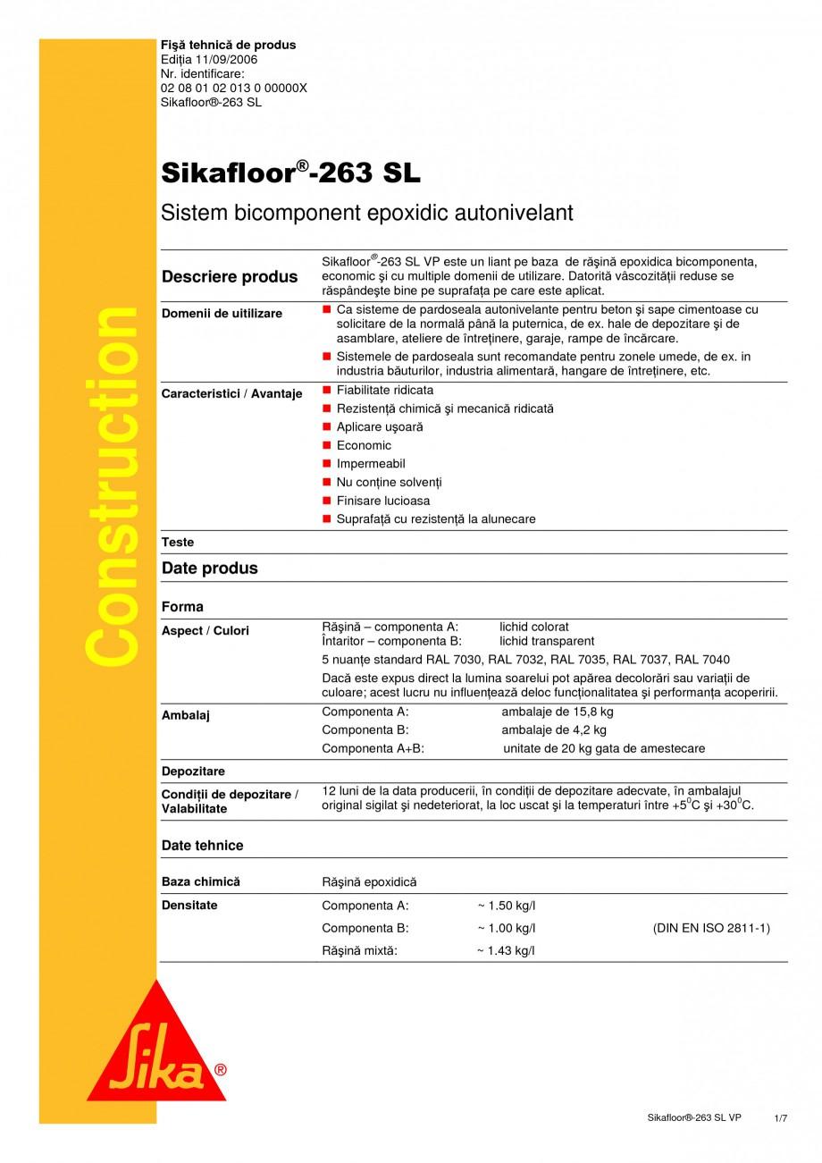 Pagina 1 - Sistem bicomponent epoxidic autonivelant SIKA Sikafloor®-263 SL Fisa tehnica Romana...