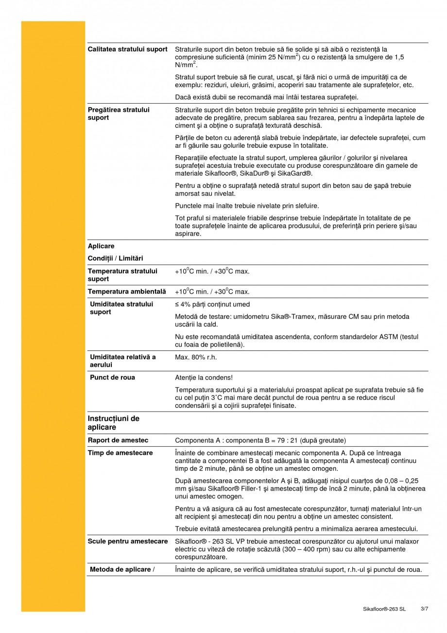 Pagina 3 - Sistem bicomponent epoxidic autonivelant SIKA Sikafloor®-263 SL Fisa tehnica Romana  ...