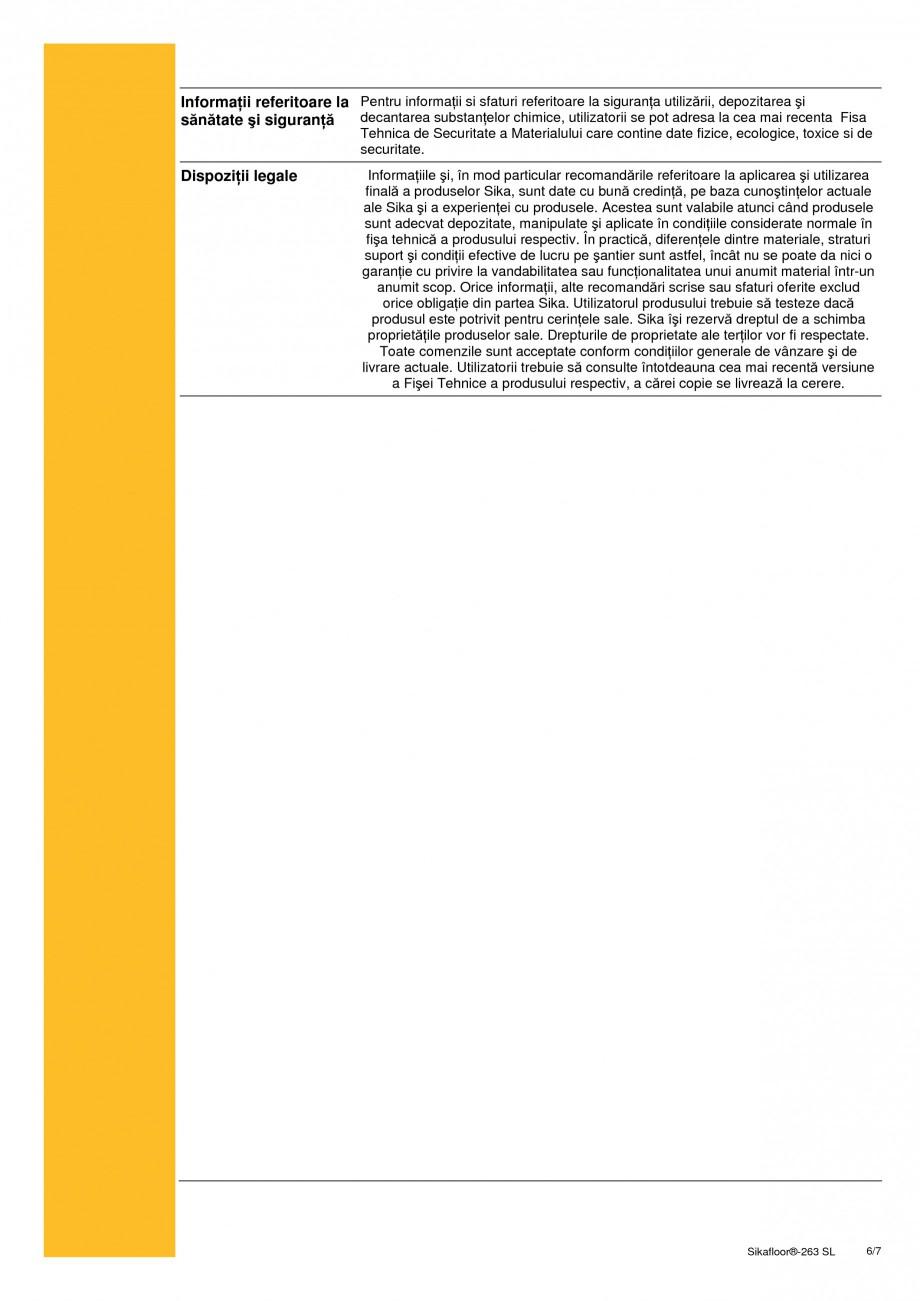 Pagina 6 - Sistem bicomponent epoxidic autonivelant SIKA Sikafloor®-263 SL Fisa tehnica Romana...