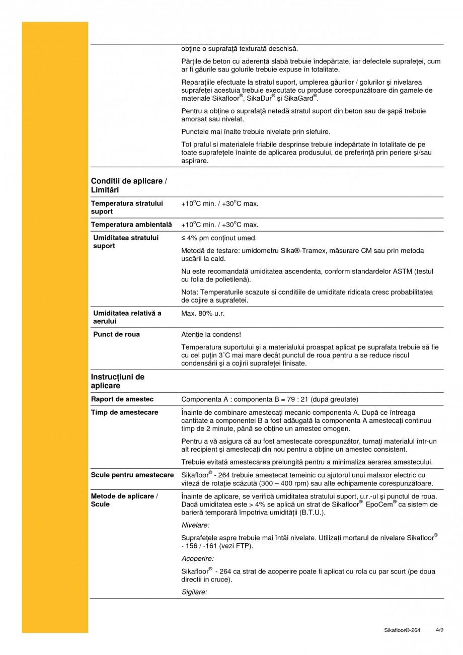Pagina 4 - Strat bicomponent epoxidic de sigilare SIKA Sikafloor®-264 Fisa tehnica Romana 60...