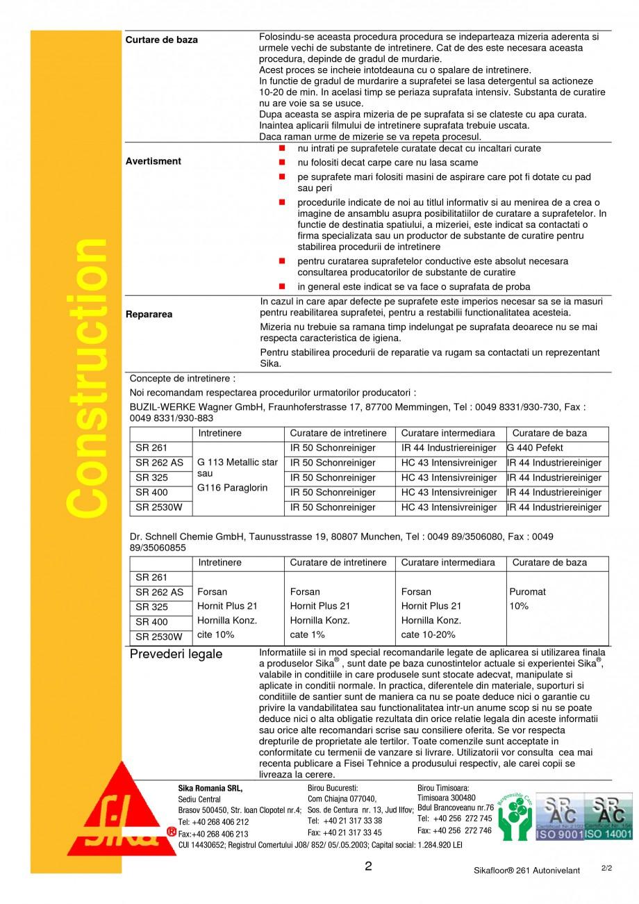 Pagina 2 - Procedura de intretinere pentru pardoselile Sikafloor SIKA Sikafloor®-20 N PurCem®...