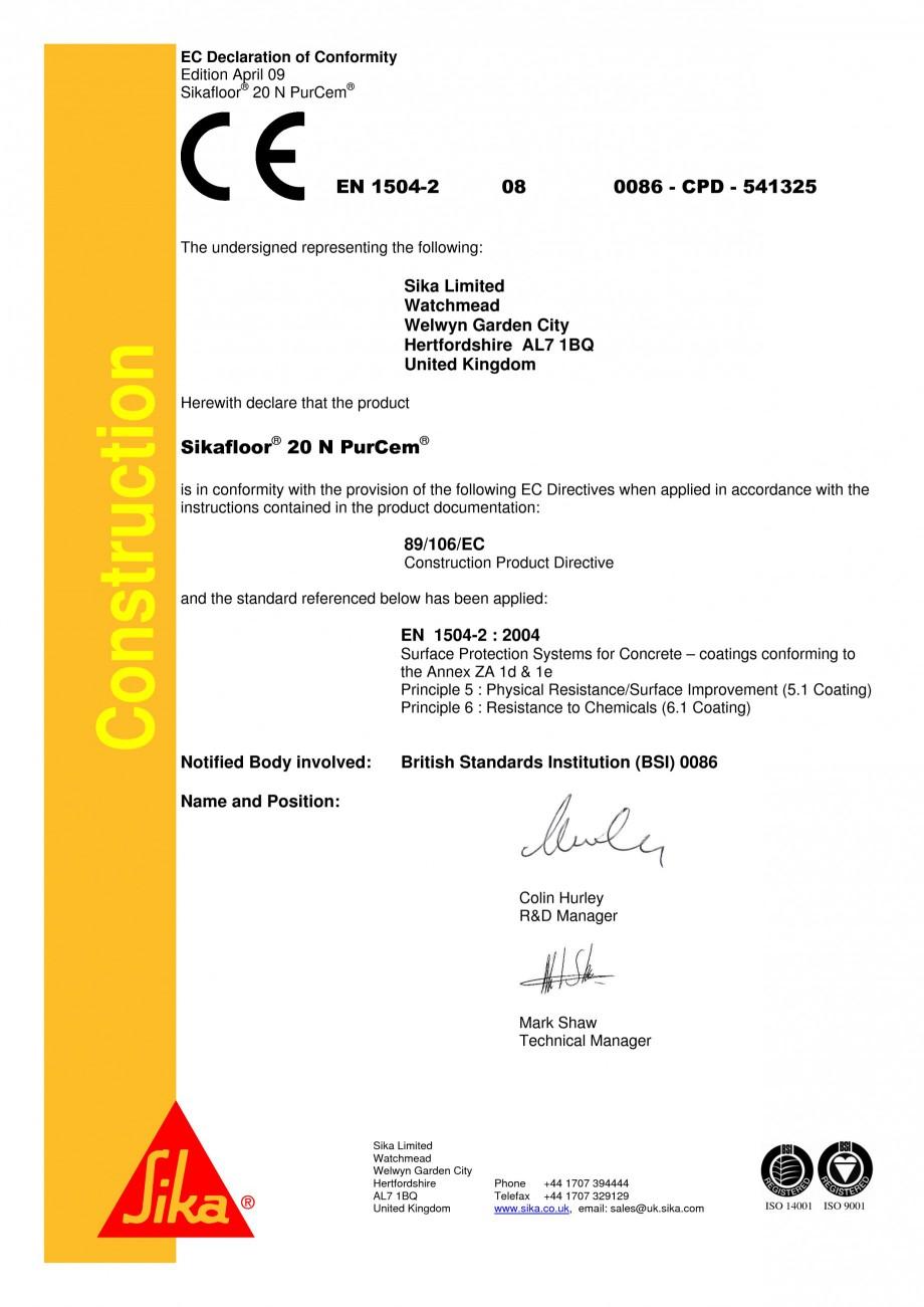 Pagina 1 - Declaratie de conformitate SIKA Sikafloor®-20 N PurCem® Certificare produs...