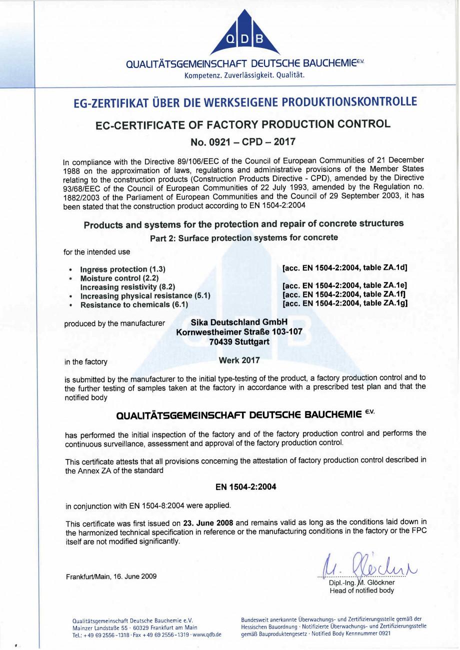 Pagina 2 - Declaratie de conformitate SIKA Sikafloor®-325 Certificare produs Engleza