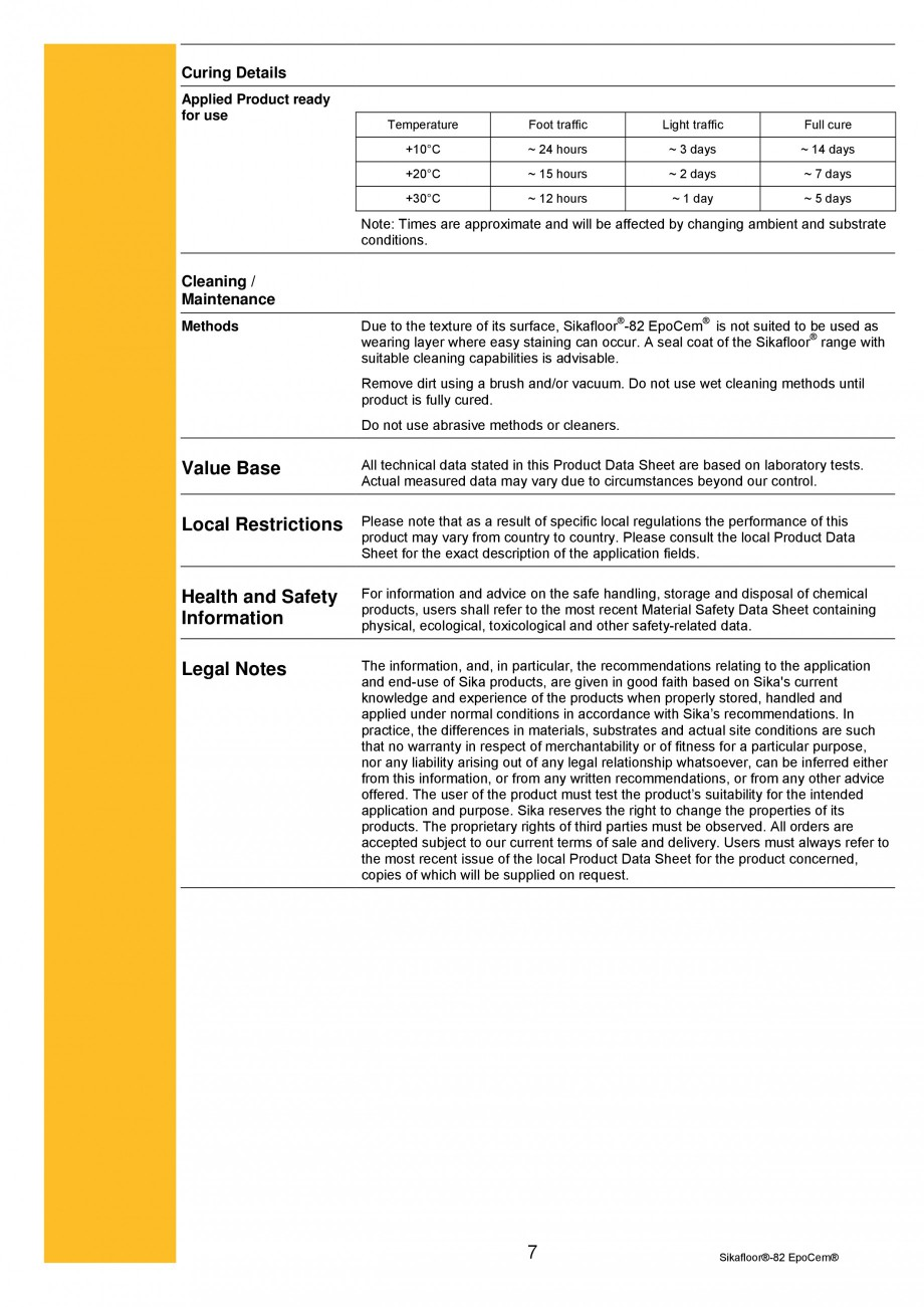 Pagina 7 - Mortar epoxidic cimentos, tricomponent, pentru sape autonivelante SIKA Sikafloor®-82 ...