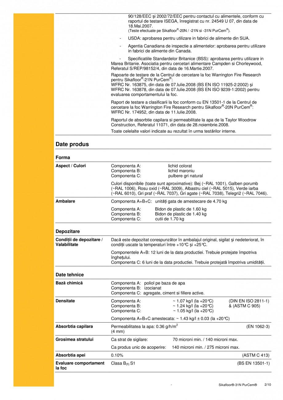 Pagina 2 - Strat de sigilare poliuretanic fara solventi SIKA Sikafloor®-31 N PurCem® Fisa...